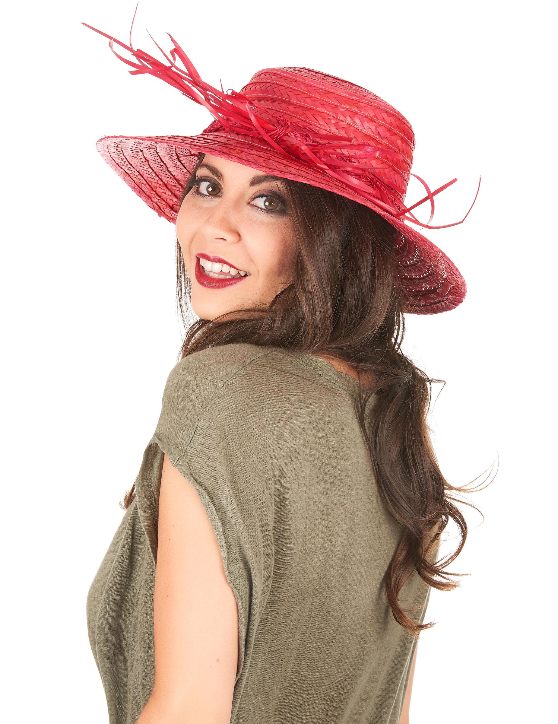 Cappello di paglia vintage rosso  Cappelli a7aa8f7a5f19