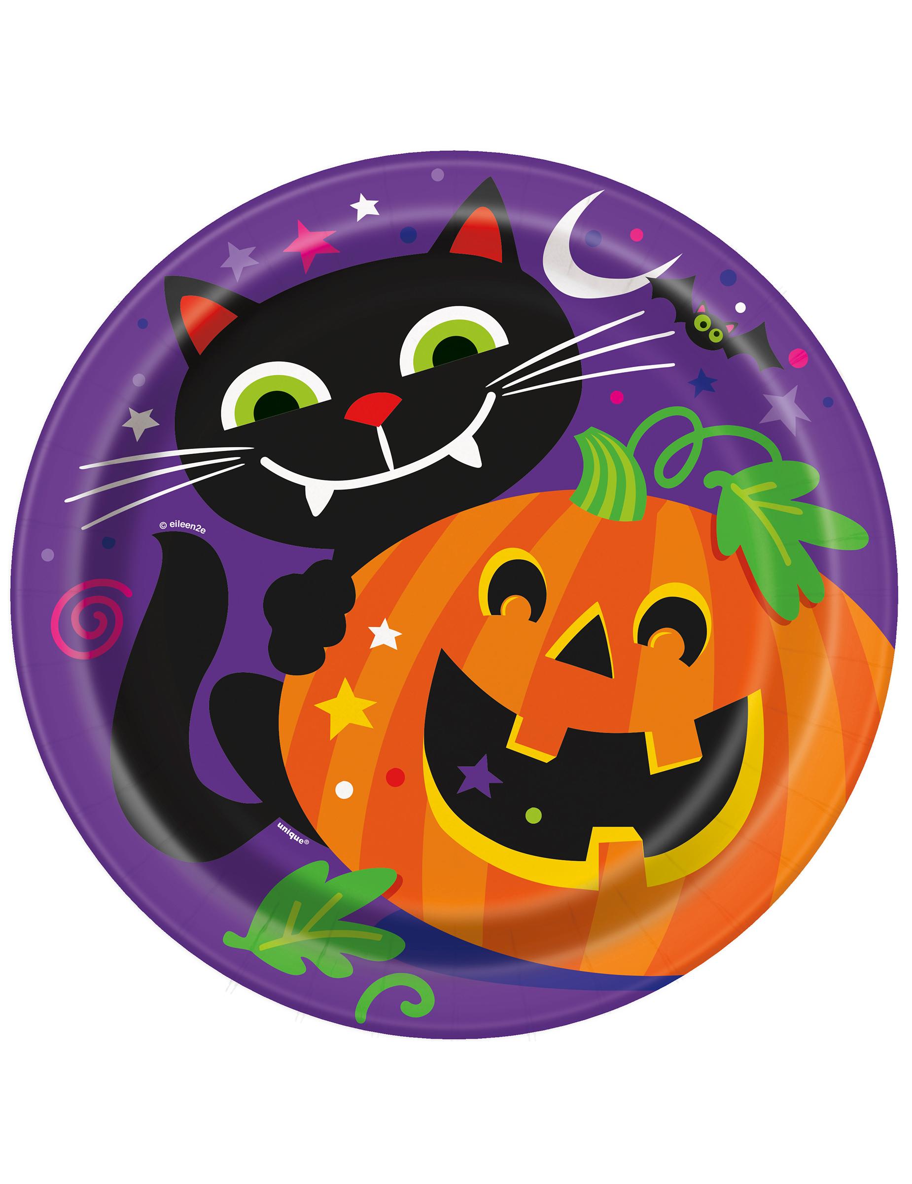 Confezione di 8 piatti di carta con zucca di Halloween  Addobbi 33863c438fe3