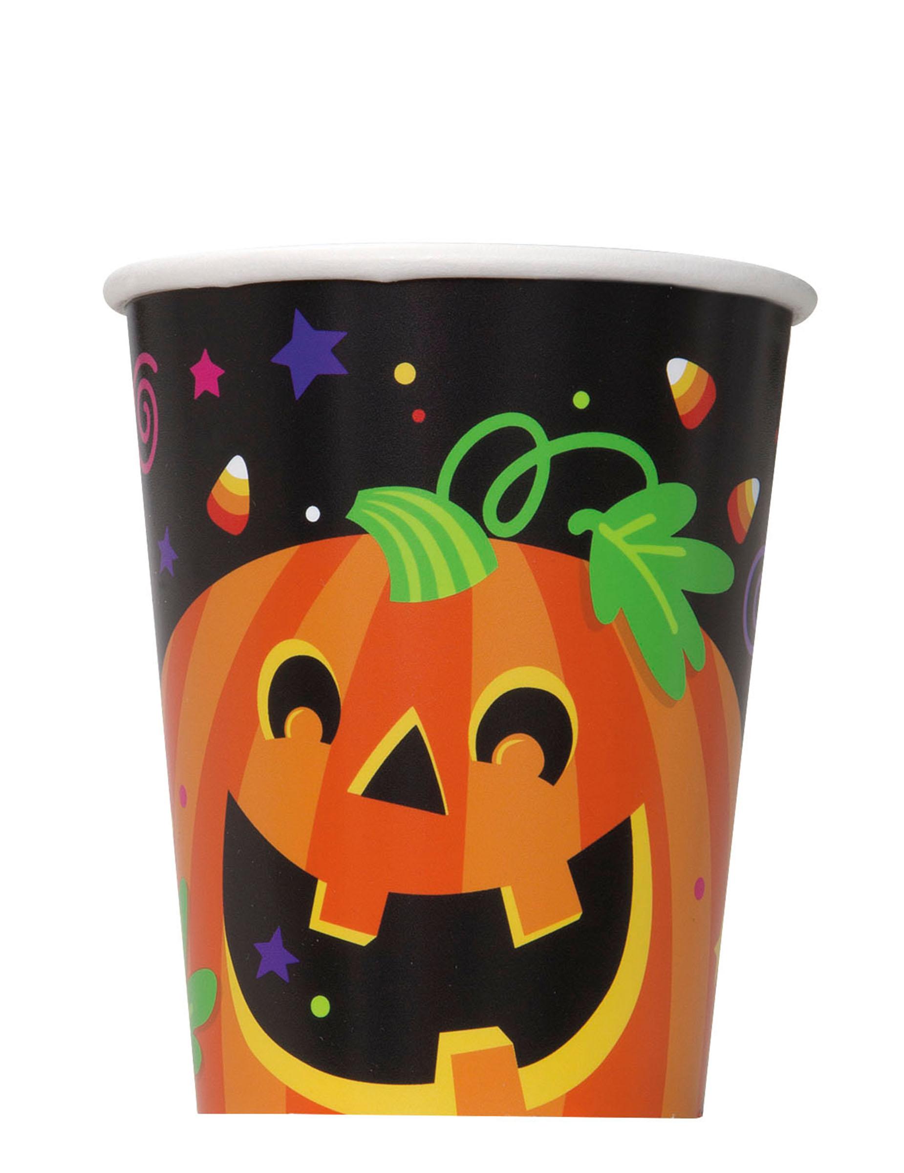 8 bicchieri di cartone zucca halloween  Addobbi fa0ca05a3703