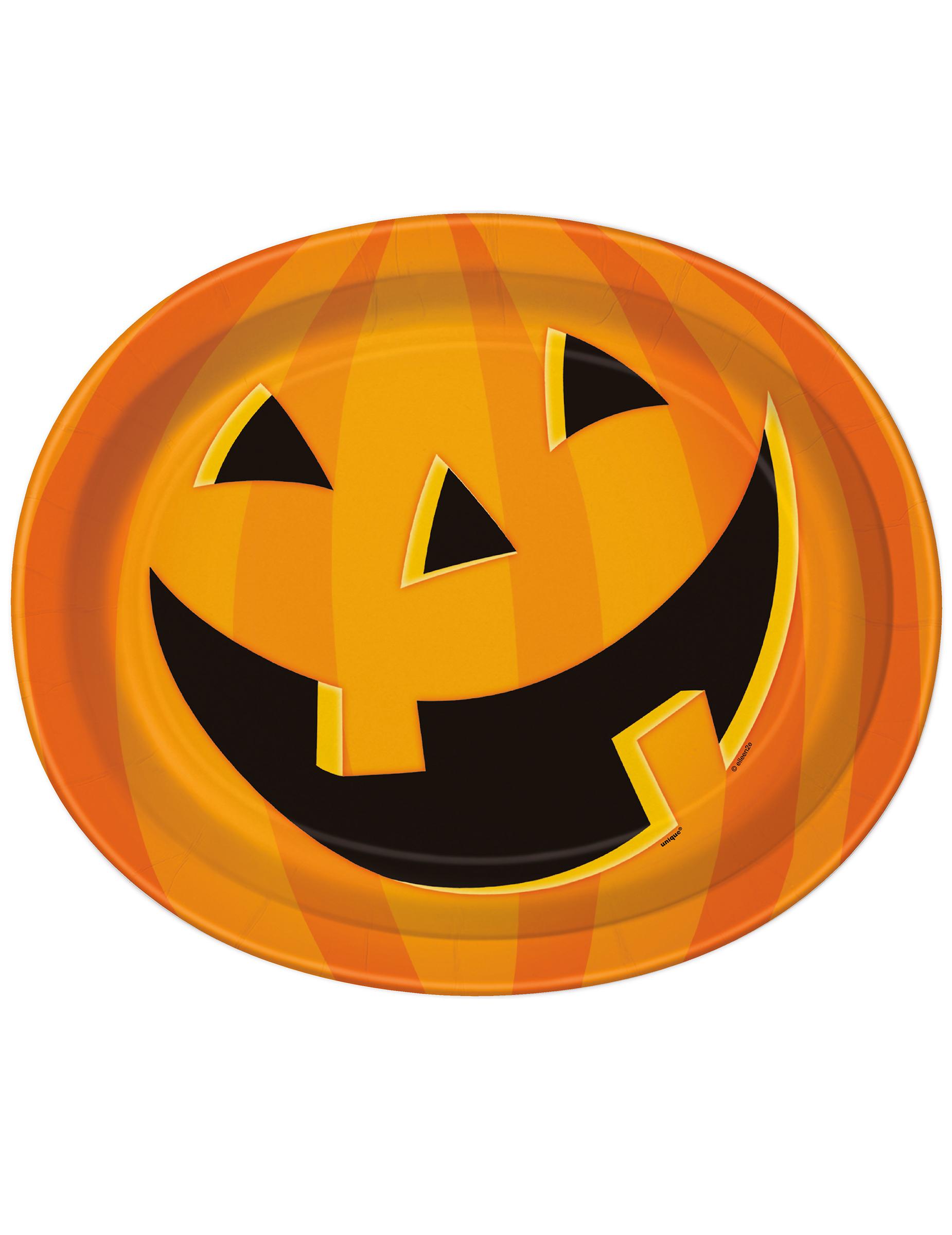 8 piatti zucca sorridente Halloween  Addobbi d9ac6ab1d44f
