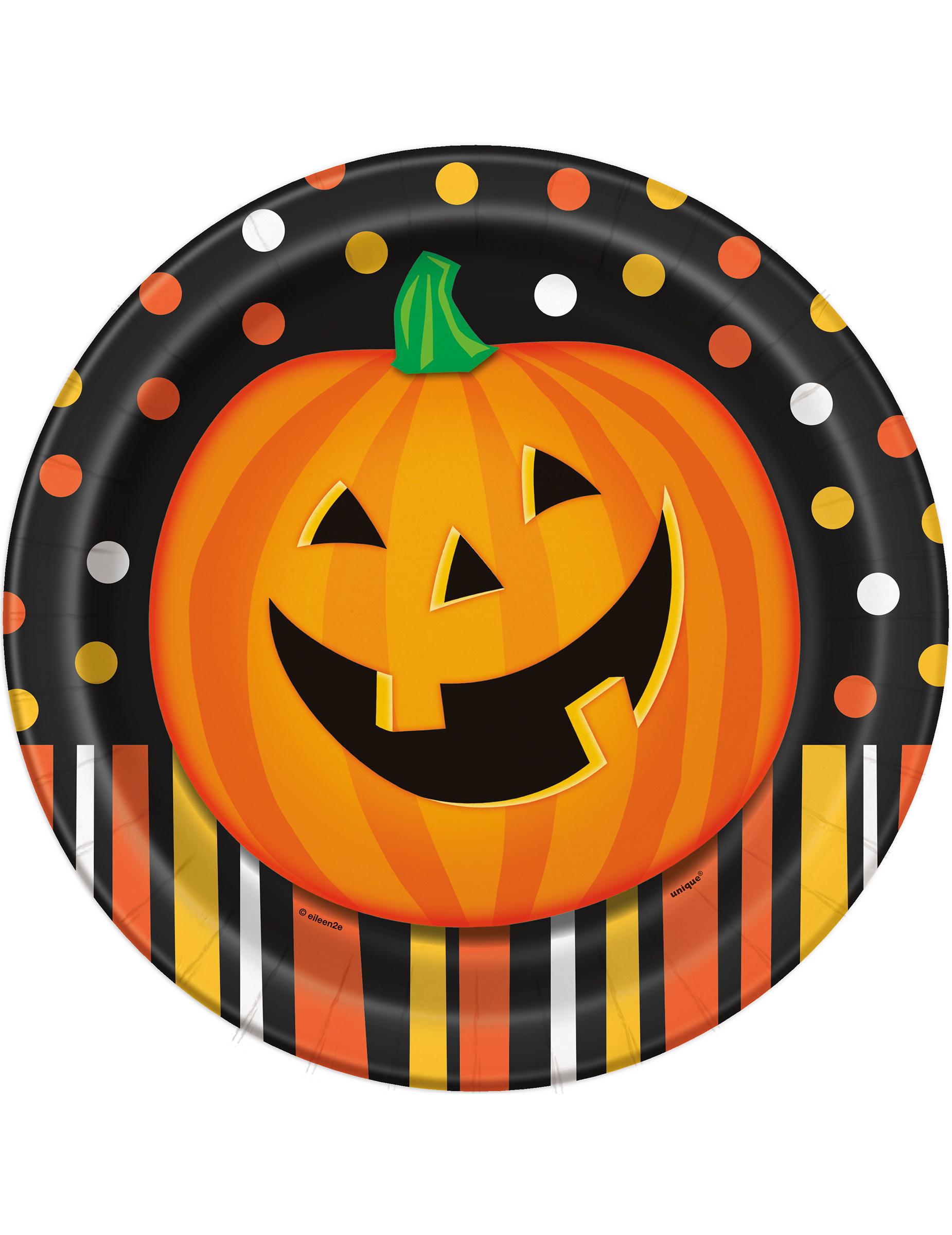 Confezione di 8 piatti con zucca di Halloween  Addobbi 9a11e1c64928
