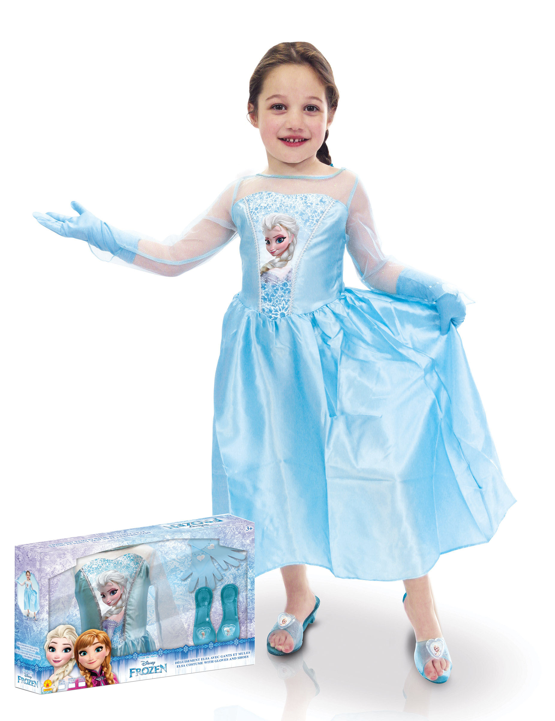 Costume elsa con accessori bambina frozen™ con cofanetto costumi