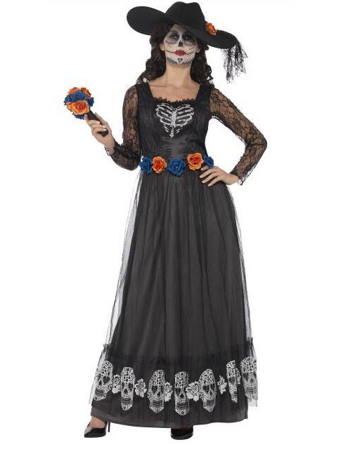 Costume da sposa vestito lungo nero donna Dia de los muertos ... 5b5845491a4