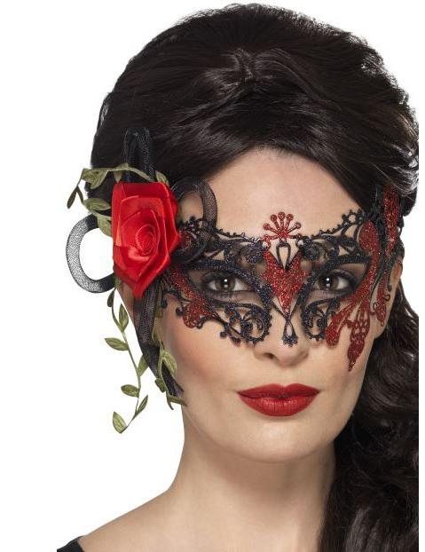Mascherina in pizzo nera e rossa donna Dia de Los Muertos  Maschere ... acdb0a9f244