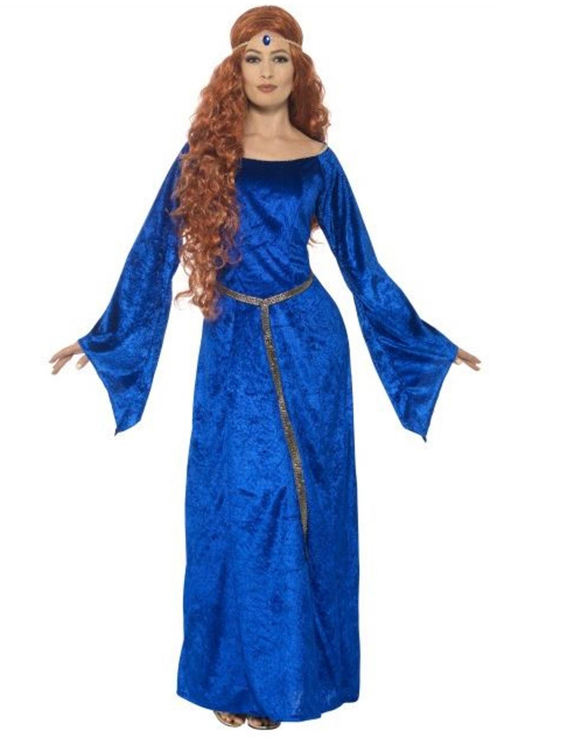 Adulti e Donna Per Travestimento Blu Da Costumi Medievale Dama R0vaT