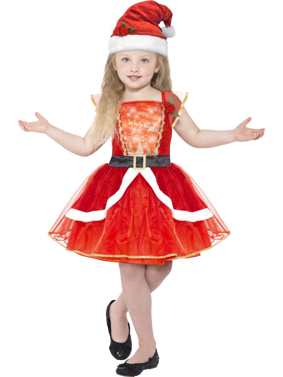 huge selection of 4b525 55c31 Costume vestito rosso luminoso con cappello Natale bambina/ragazza
