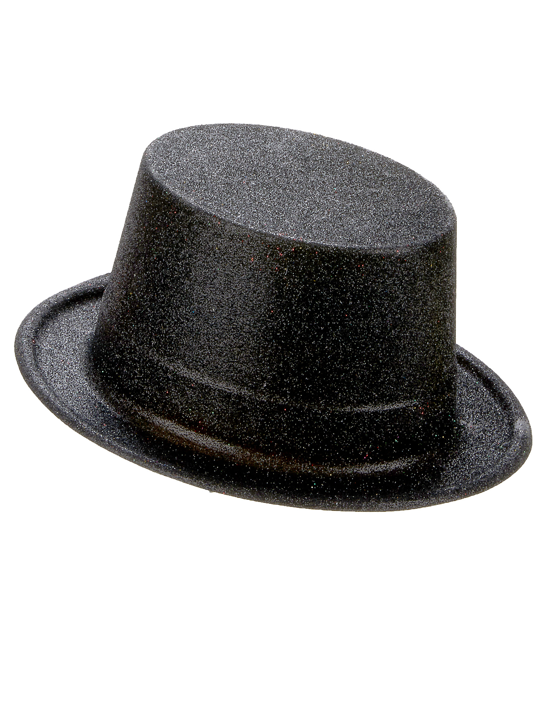 Cappello cilindro in plastica con paillettes nero per Adulto d8b3a9321708