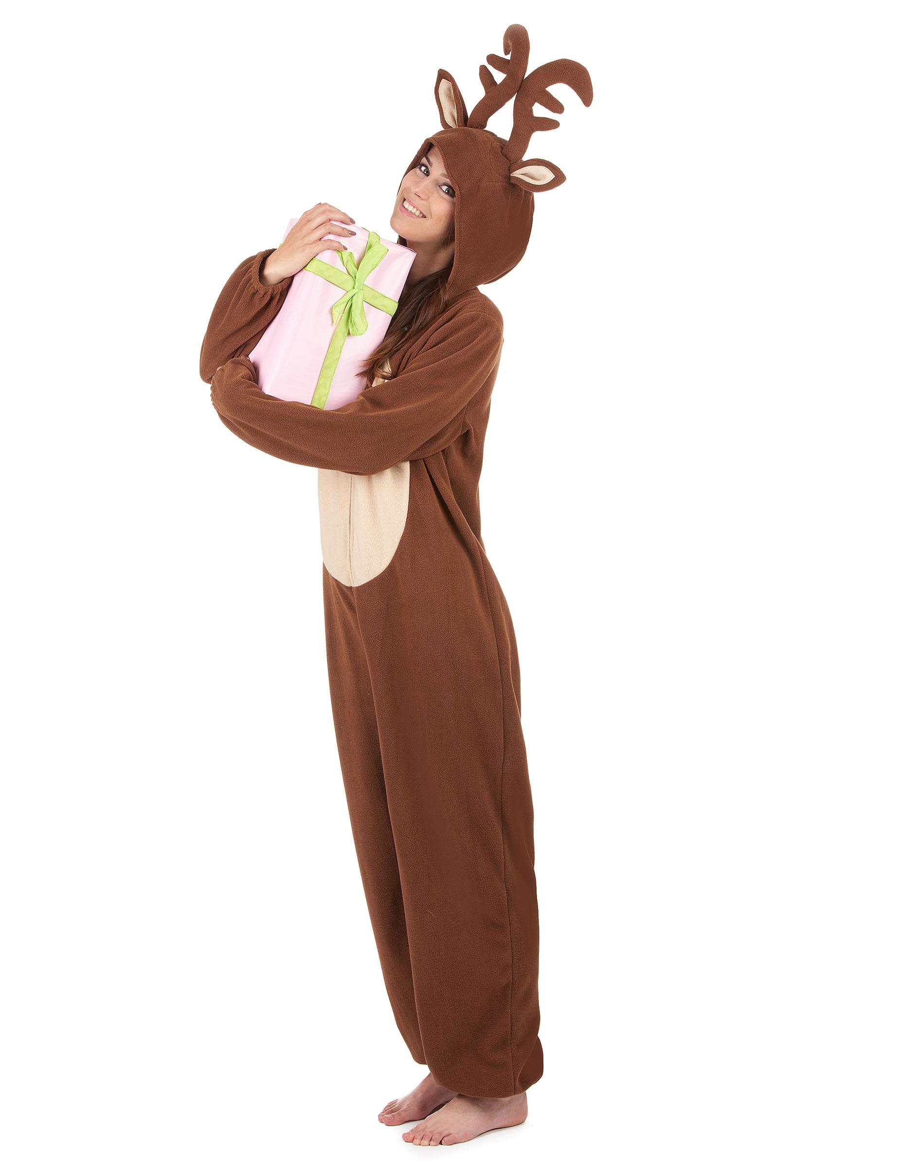 Tuta Costumi e Con Di Adulti Donna Renna Vestiti Cappuccio 7qWr1wa7
