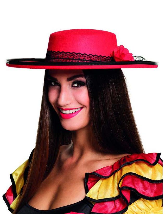 Cappello ballerina spagnola rossa donna  Cappelli 99d3357b9efa