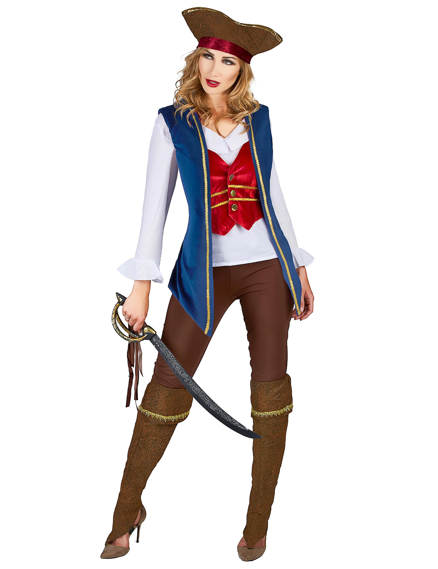 Ben noto Costume da pirata blu e prugna da donna: Costumi adulti,e vestiti  GS87