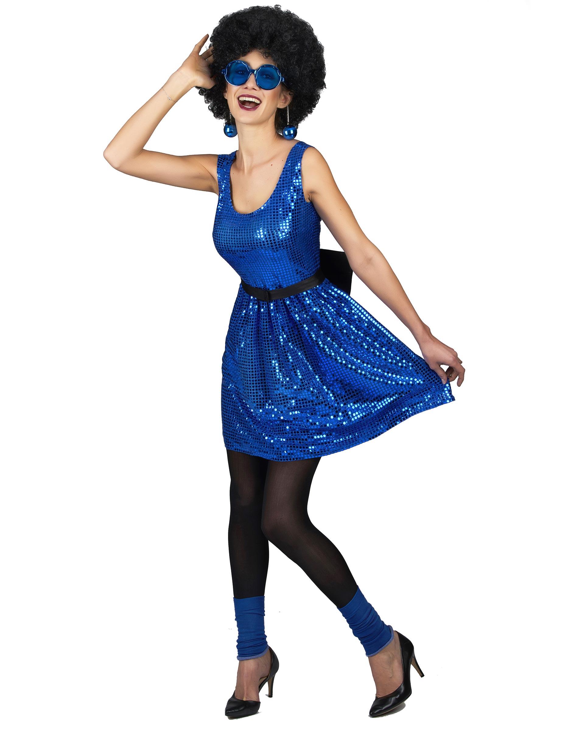 costume disco anni 39 80 blu con paillettes da donna costumi adulti e vestiti di carnevale online. Black Bedroom Furniture Sets. Home Design Ideas
