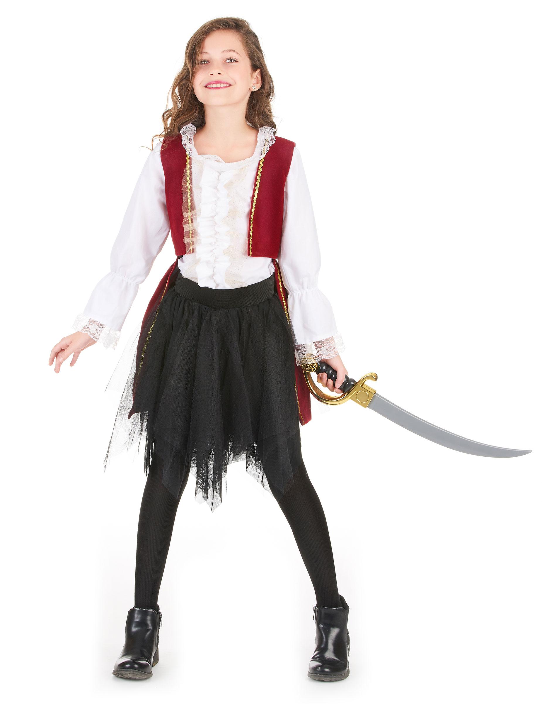 Costume da piratessa in velluto per bambina - Costume da bagno velluto ...