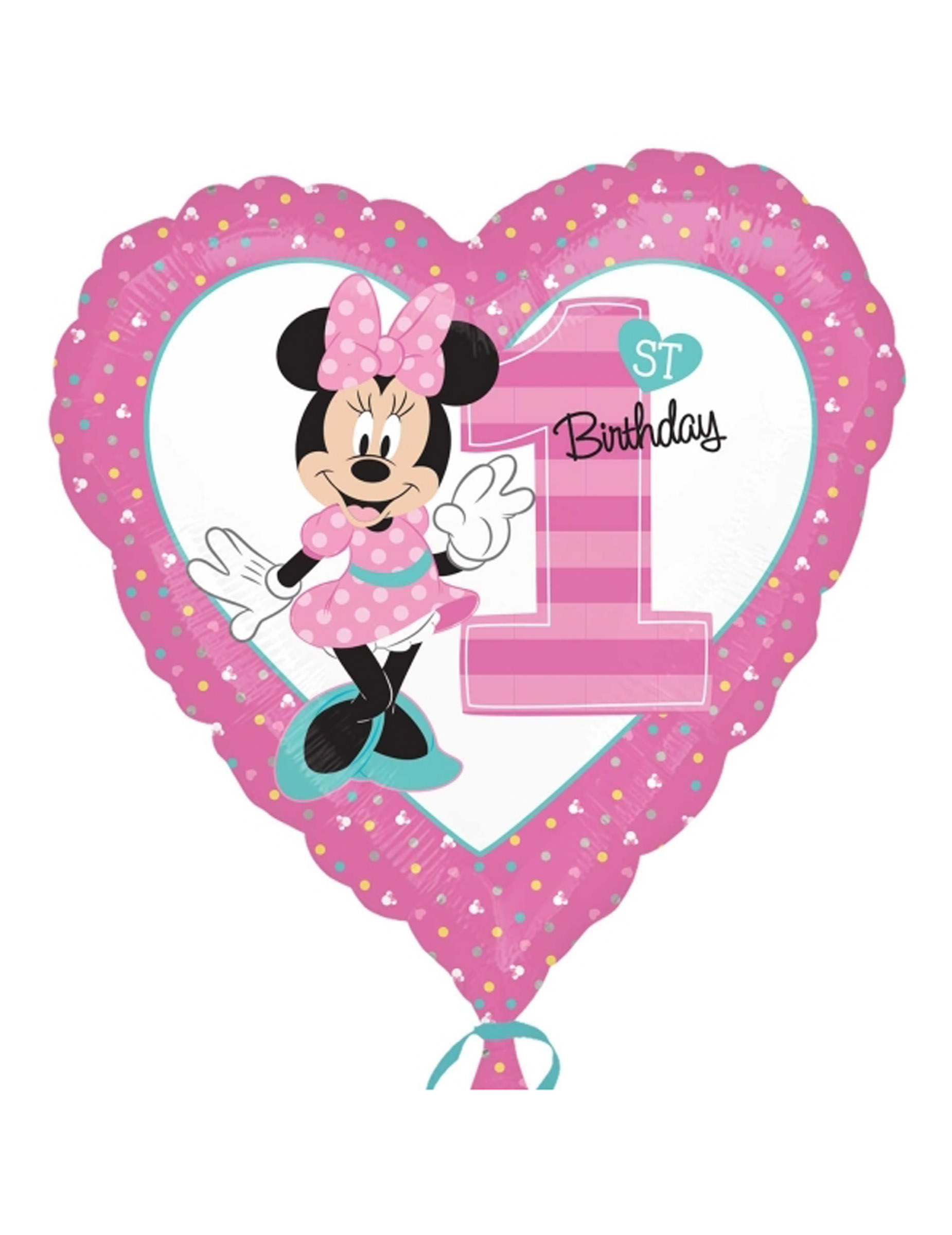 Palloncino d'alluminio 1° Compleanno Minnie™: Addobbi,e vestiti di