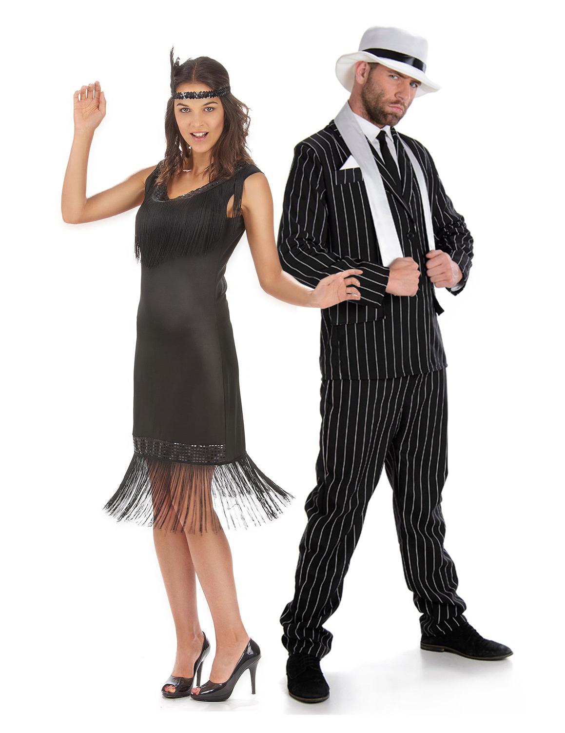 costume coppia anni 20 39 nero adulto costumi coppia e vestiti di carnevale online vegaoo. Black Bedroom Furniture Sets. Home Design Ideas