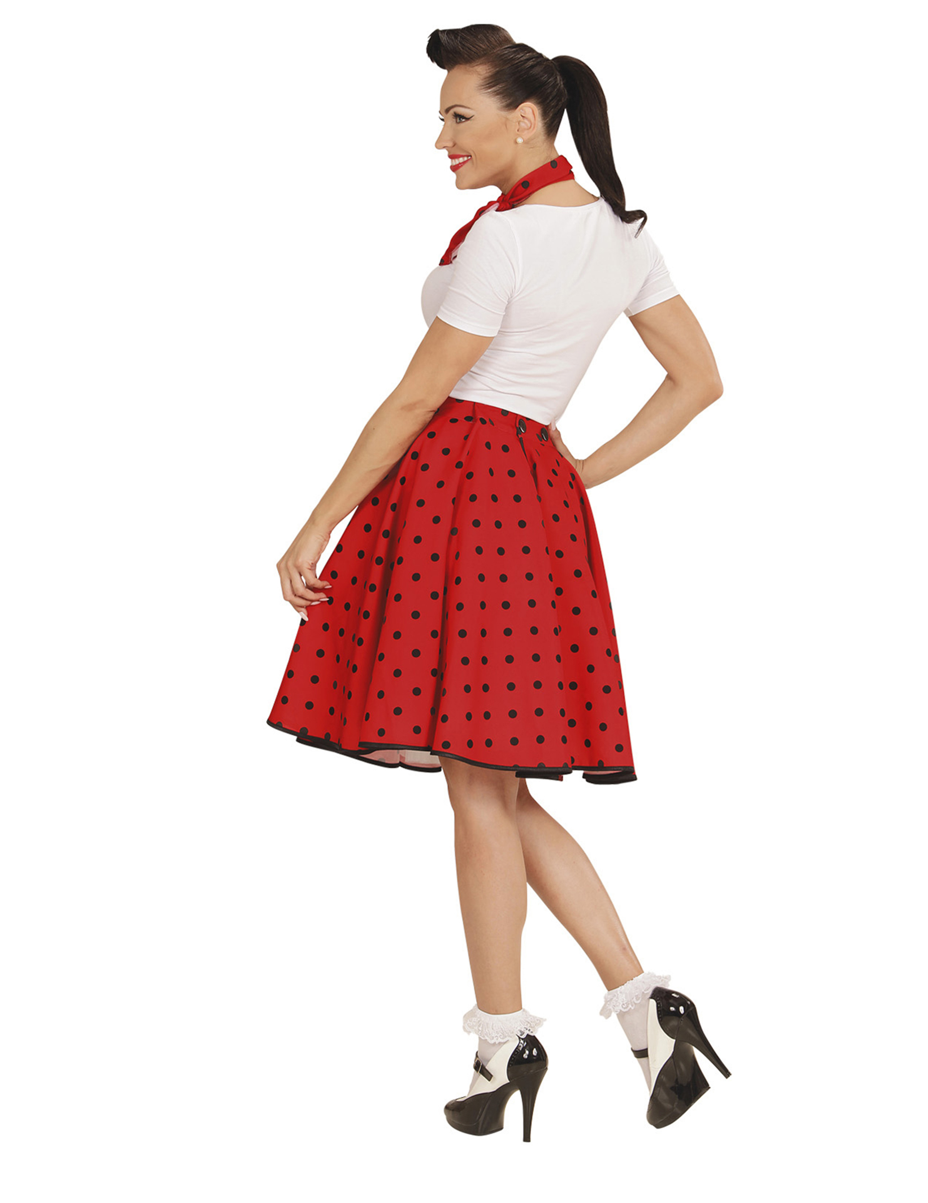 Costume gonna e foulard rosso a pois donna  Costumi adulti eee0680fbd1