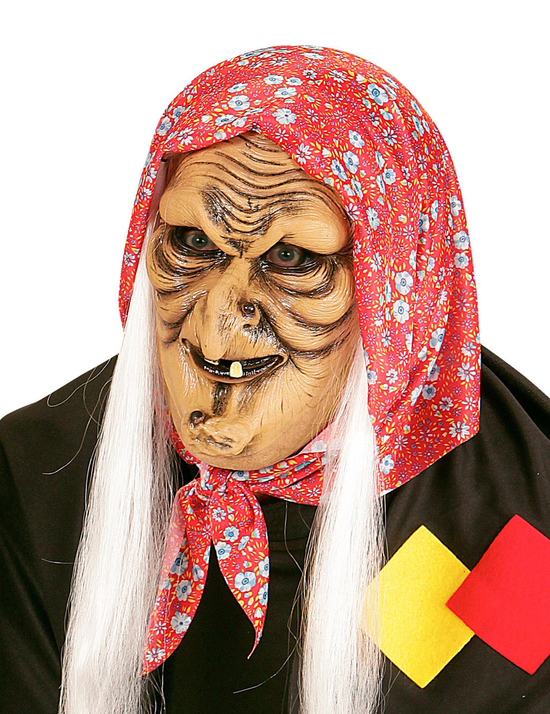 Maschera da befana con capelli bianchi  Maschere e6127f1378b2