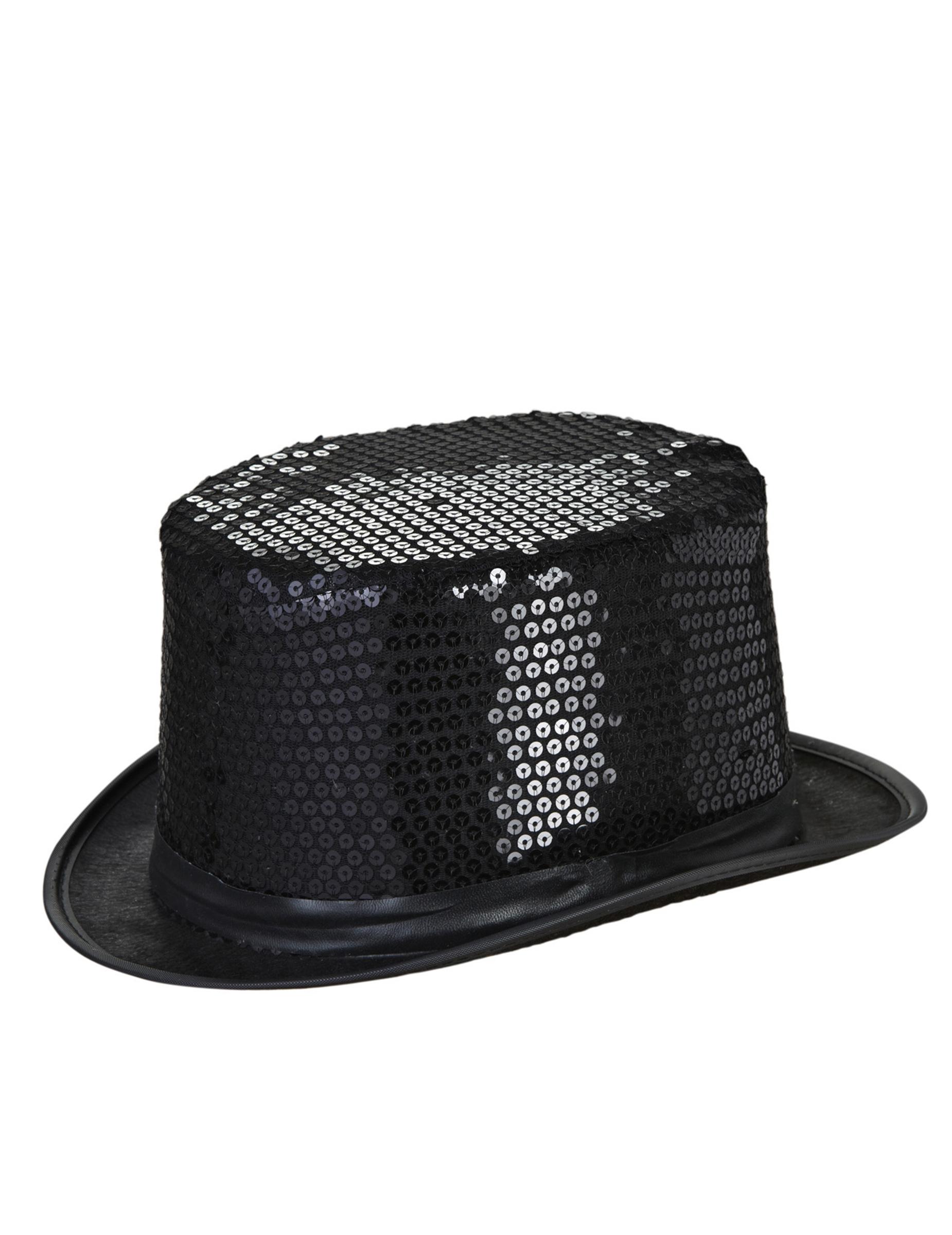 Cappello a cilindro nero paillettes adulto  Cappelli d292eaf41eaa