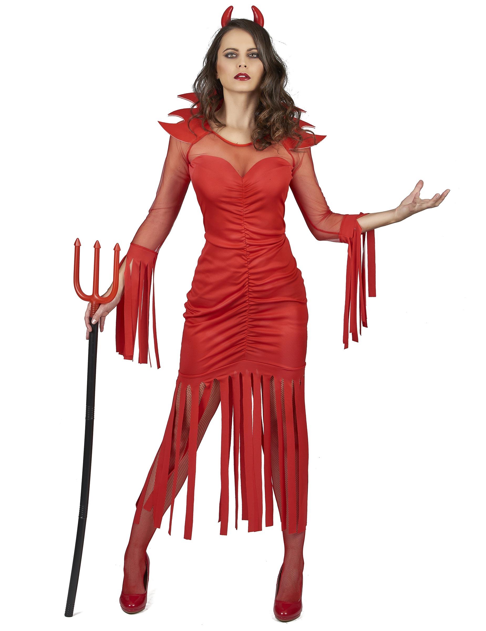 Costume diavolessa con frange donna  Costumi adulti 8380d76158df