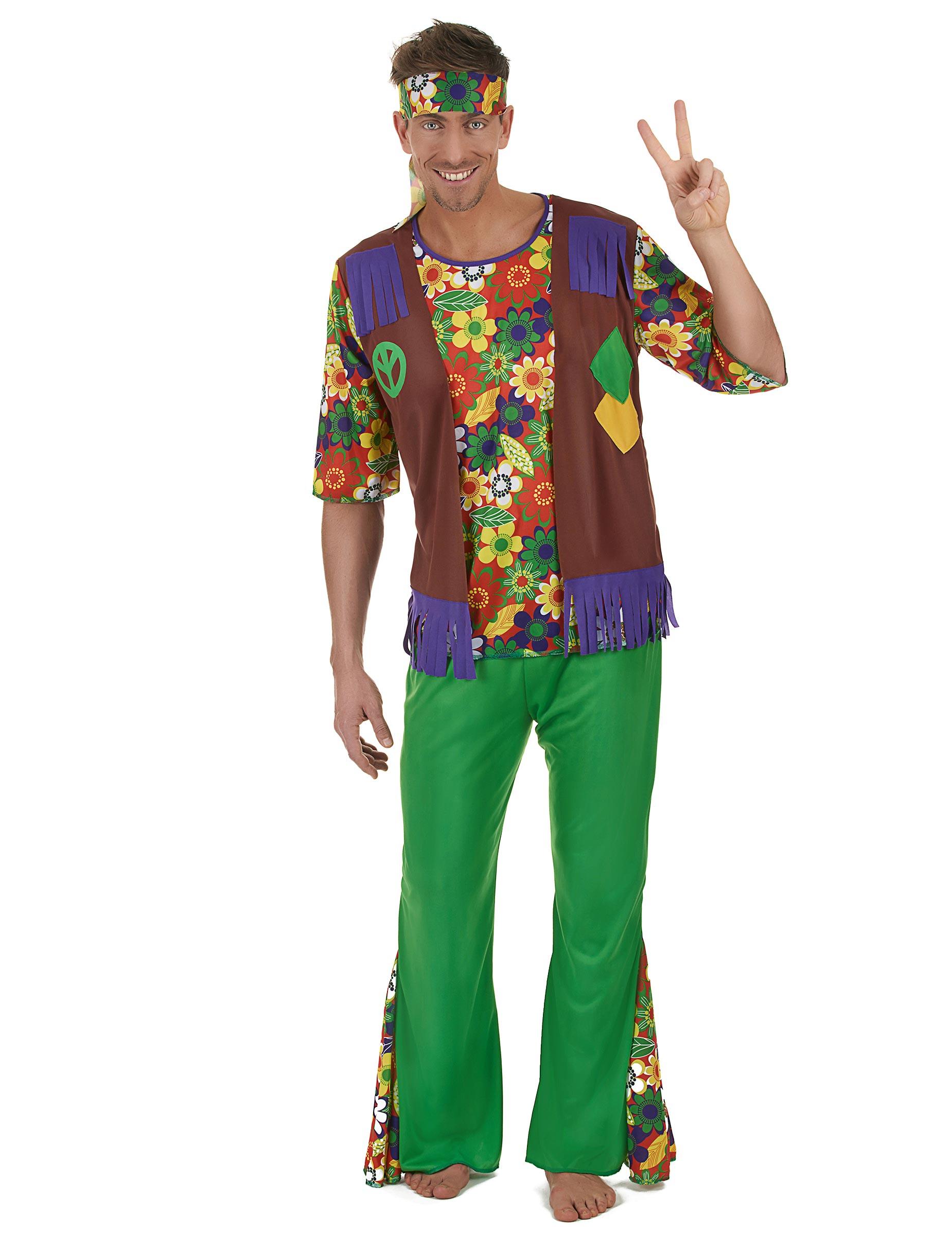 Costume da hippie flower power per uomo 01e910acf34