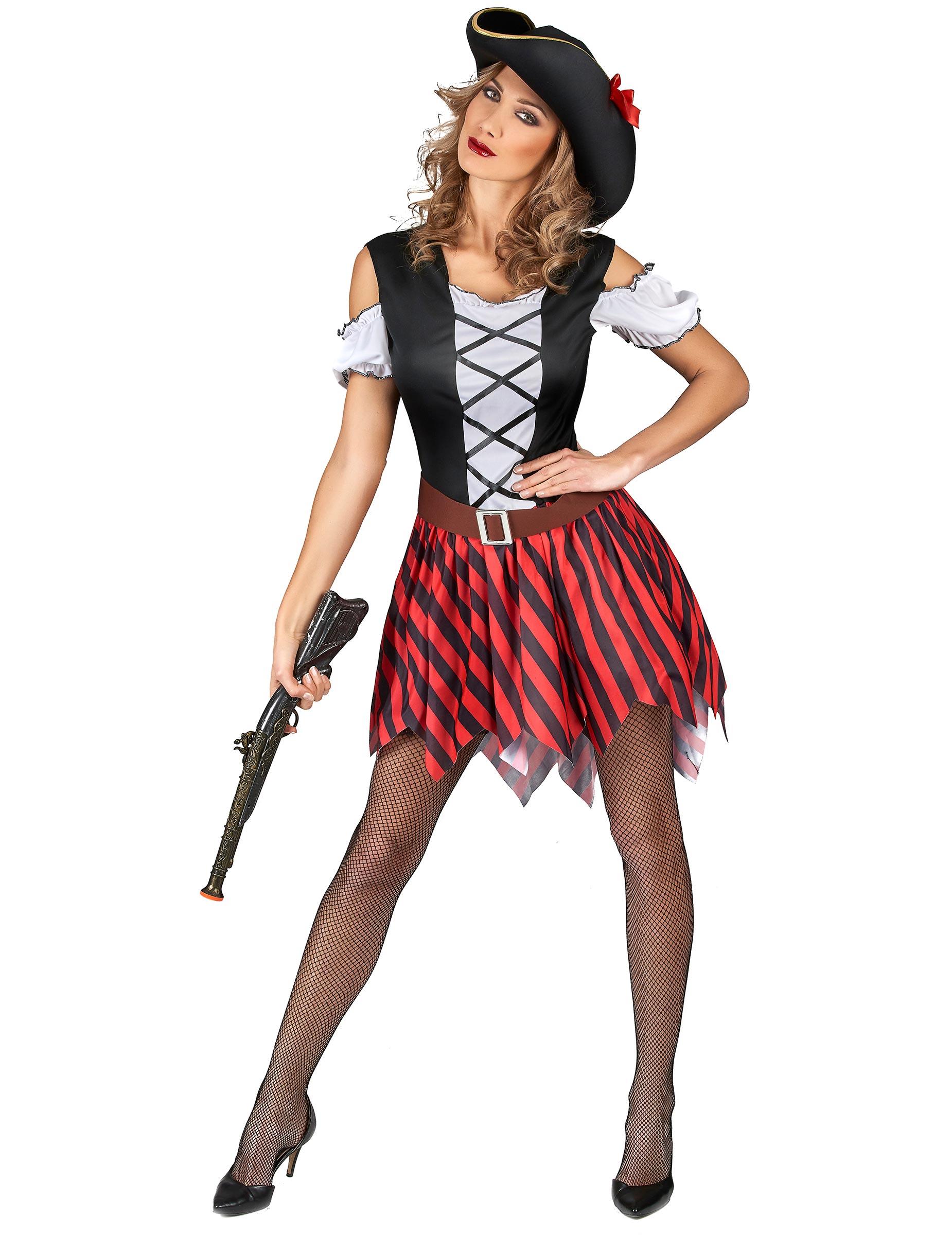 Costume da piratessa a righe rosse e nere per donna  Costumi adulti ... fa4918c8a2f