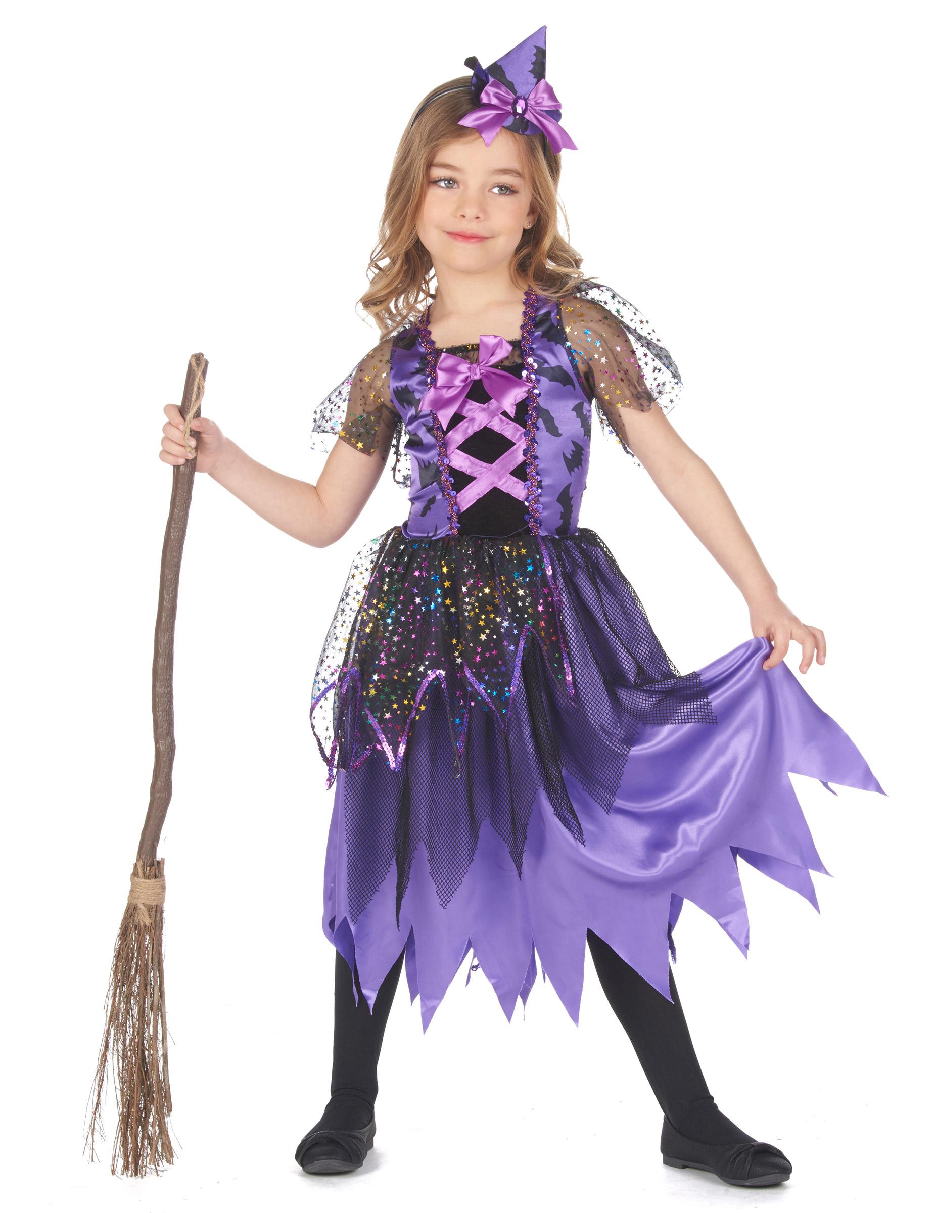 Costume da strega viola polvere di stelle per bambina Halloween 7ca82d452a81