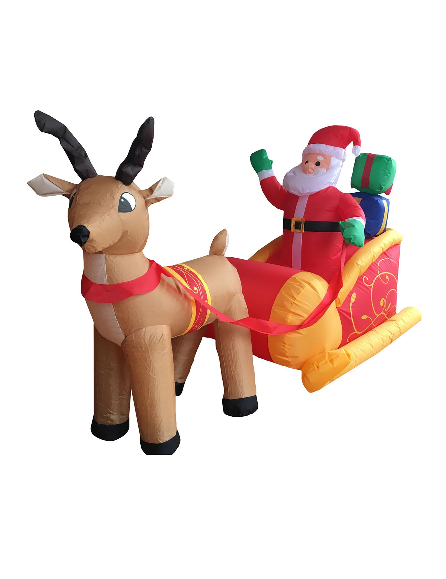 Decorazioni Natalizie Gonfiabili.Decorazione Di Natale Slitta Di Babbo Natale Con Renna Luminosa E
