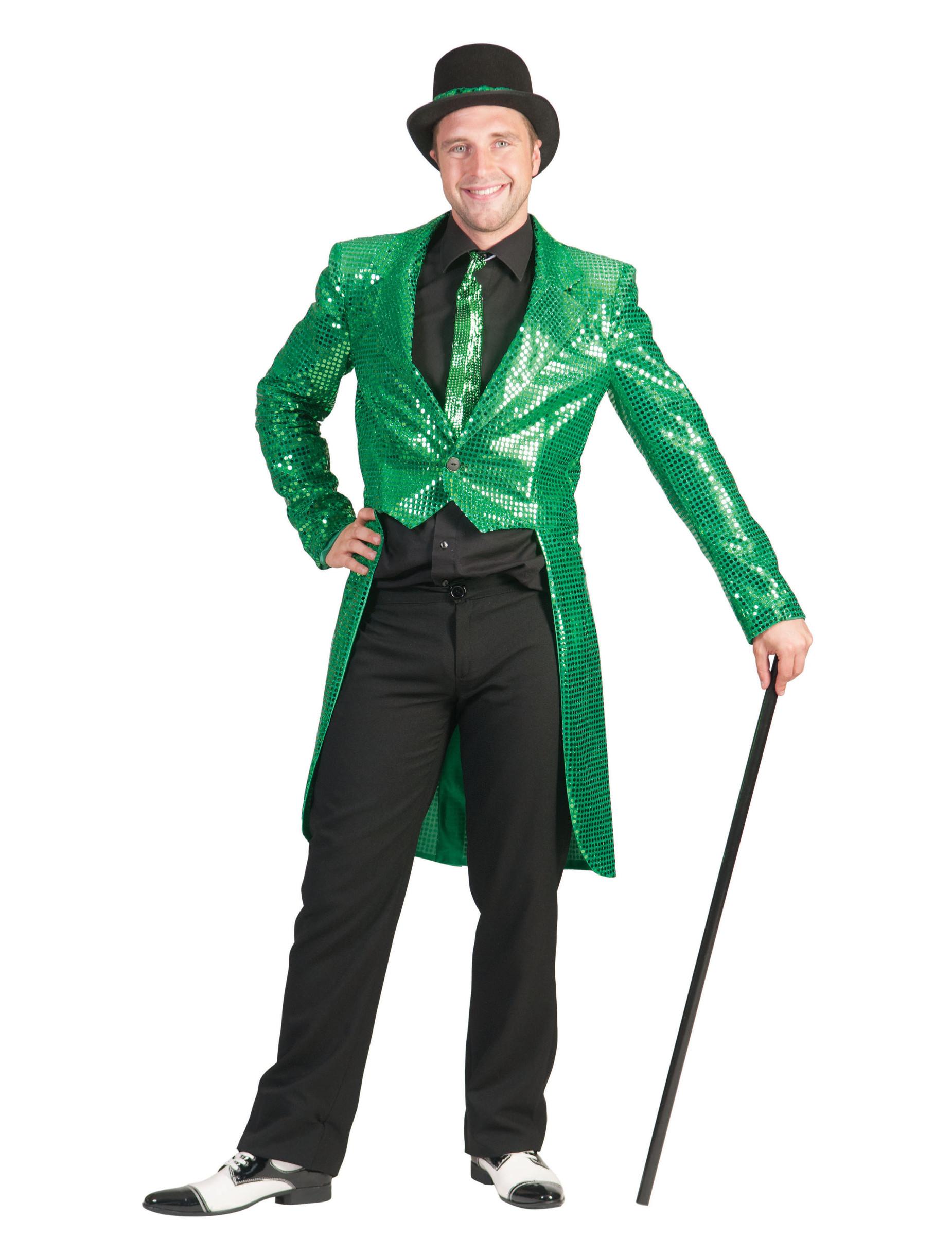 miglior sito famoso marchio di stilisti adatto a uomini/donne Giacca a coda di rondine verde con paillettes per adulto