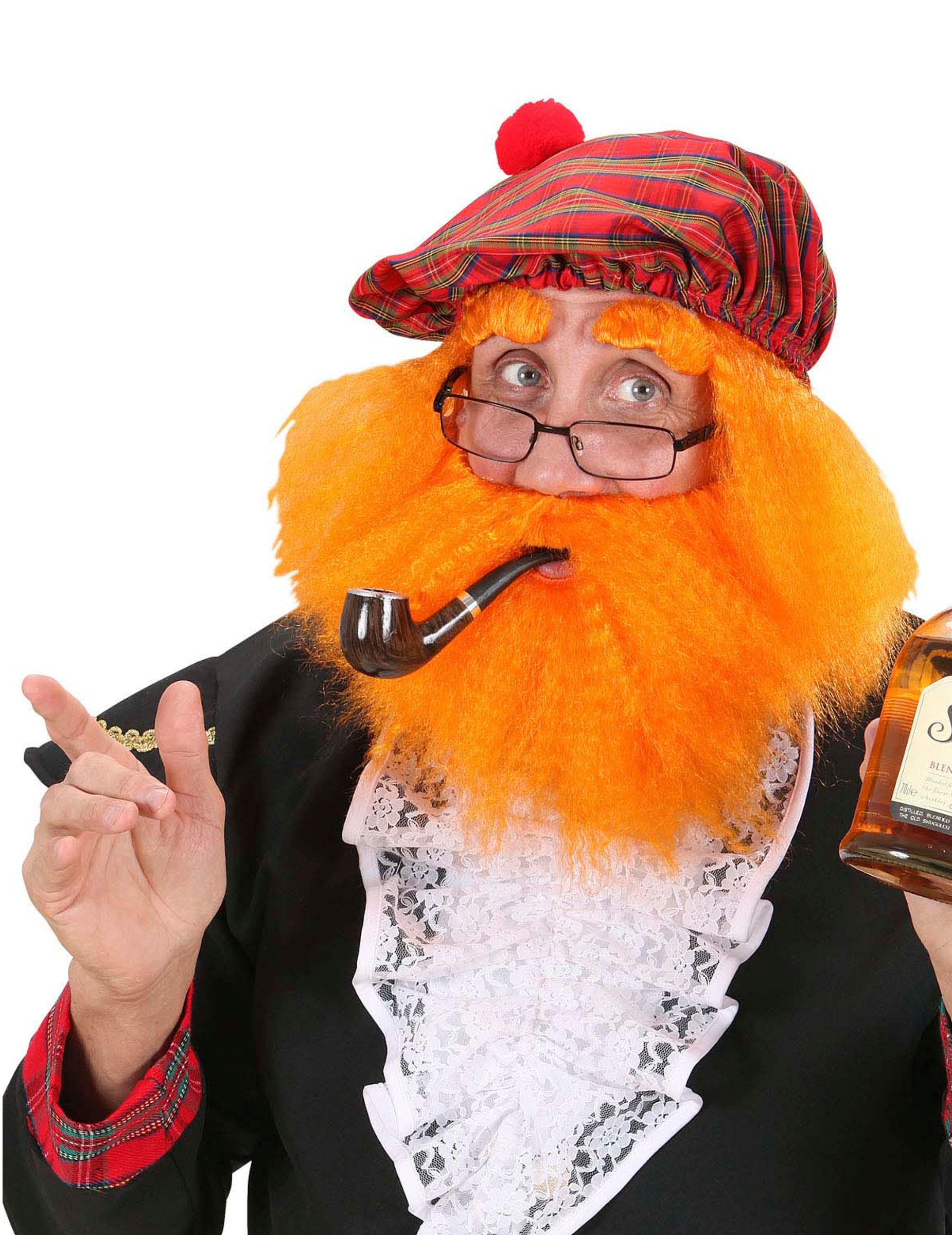 alta moda brillantezza del colore stili classici Berretto con parrucca e barba arancione adulto