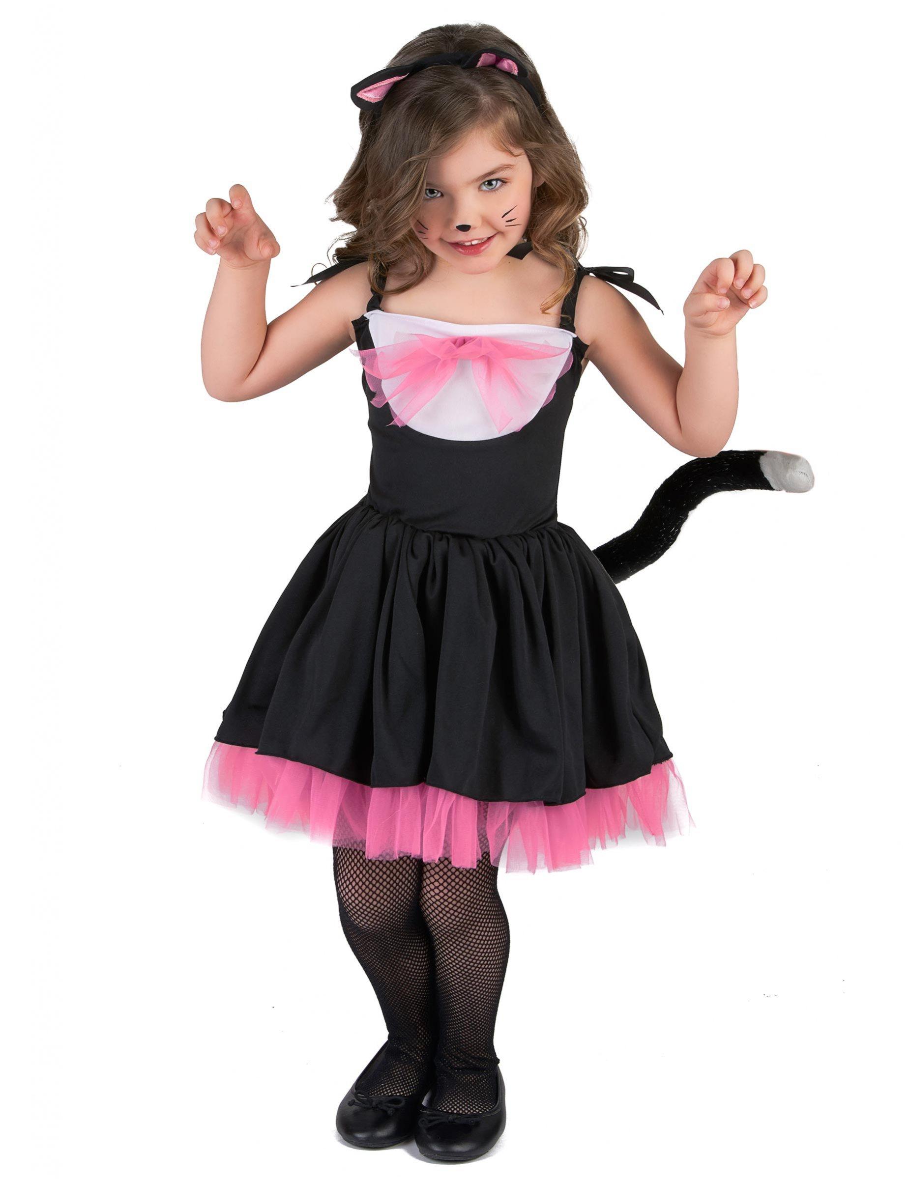 Costume da gattina con tut nero e rosa per bambina - Disfraces el gato negro ...