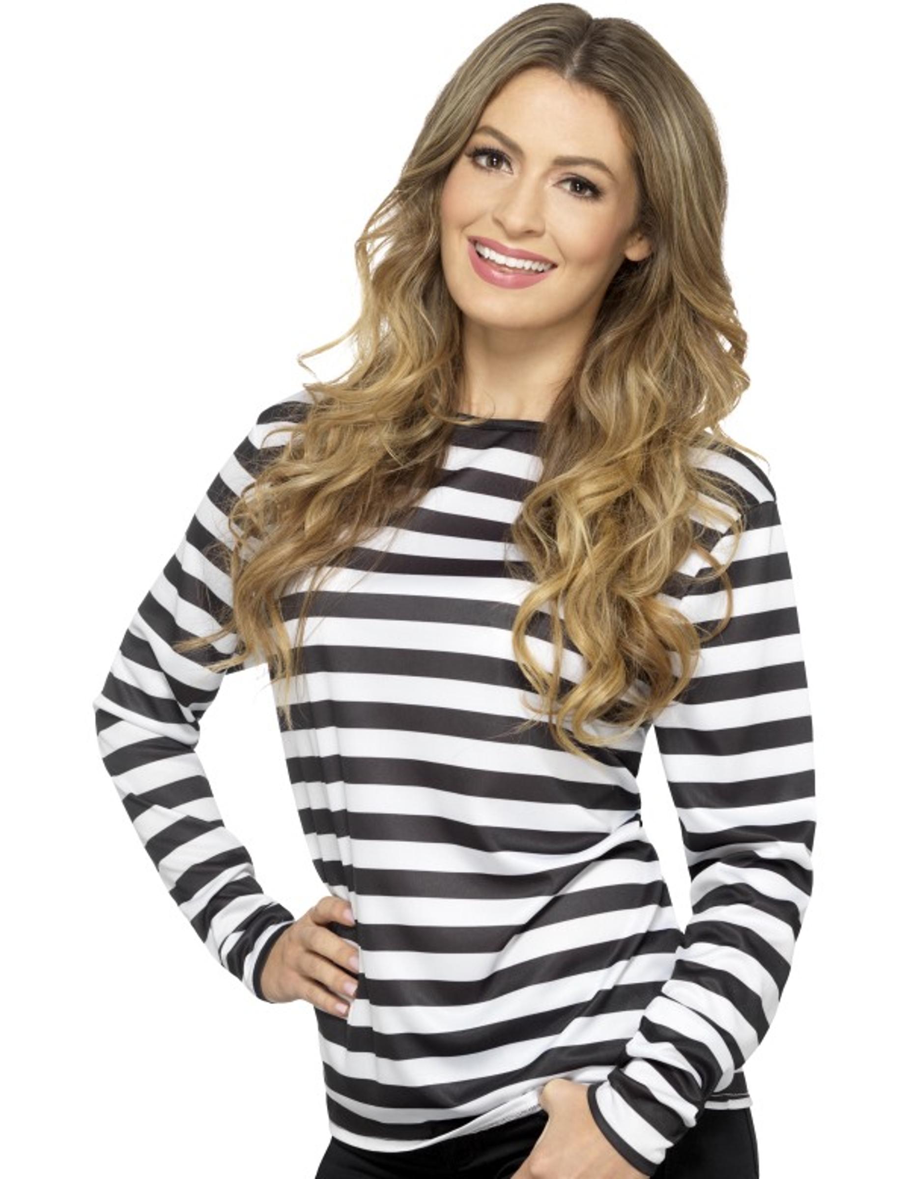 Essere confuso Parziale aspetto  T-shirt a righe bianche e nere per adulto: Costumi adulti,e vestiti di  carnevale online - Vegaoo