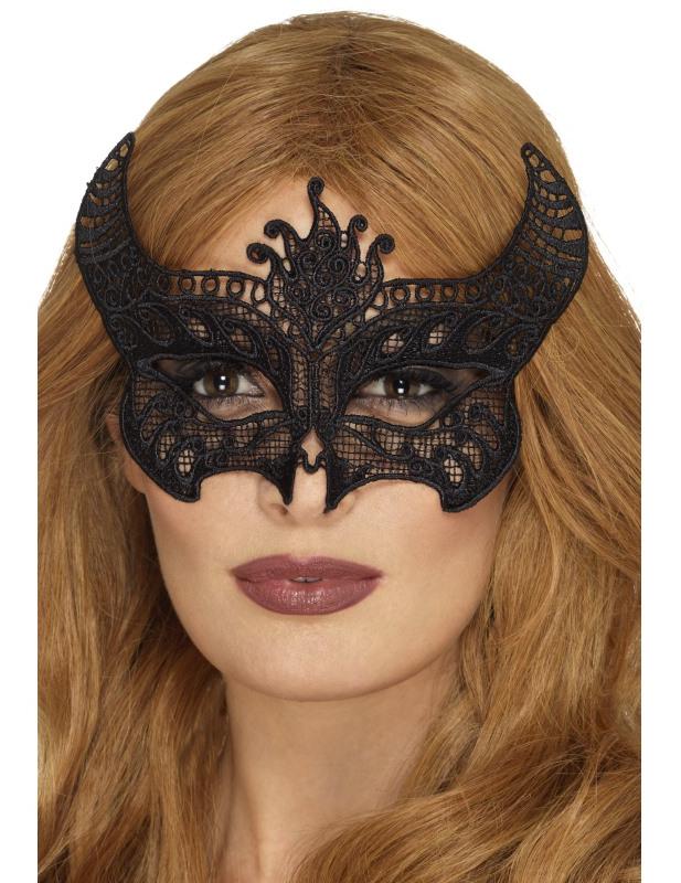 Maschera in pizzo nero diavolessa per donna halloween  Maschere da63e57b4979