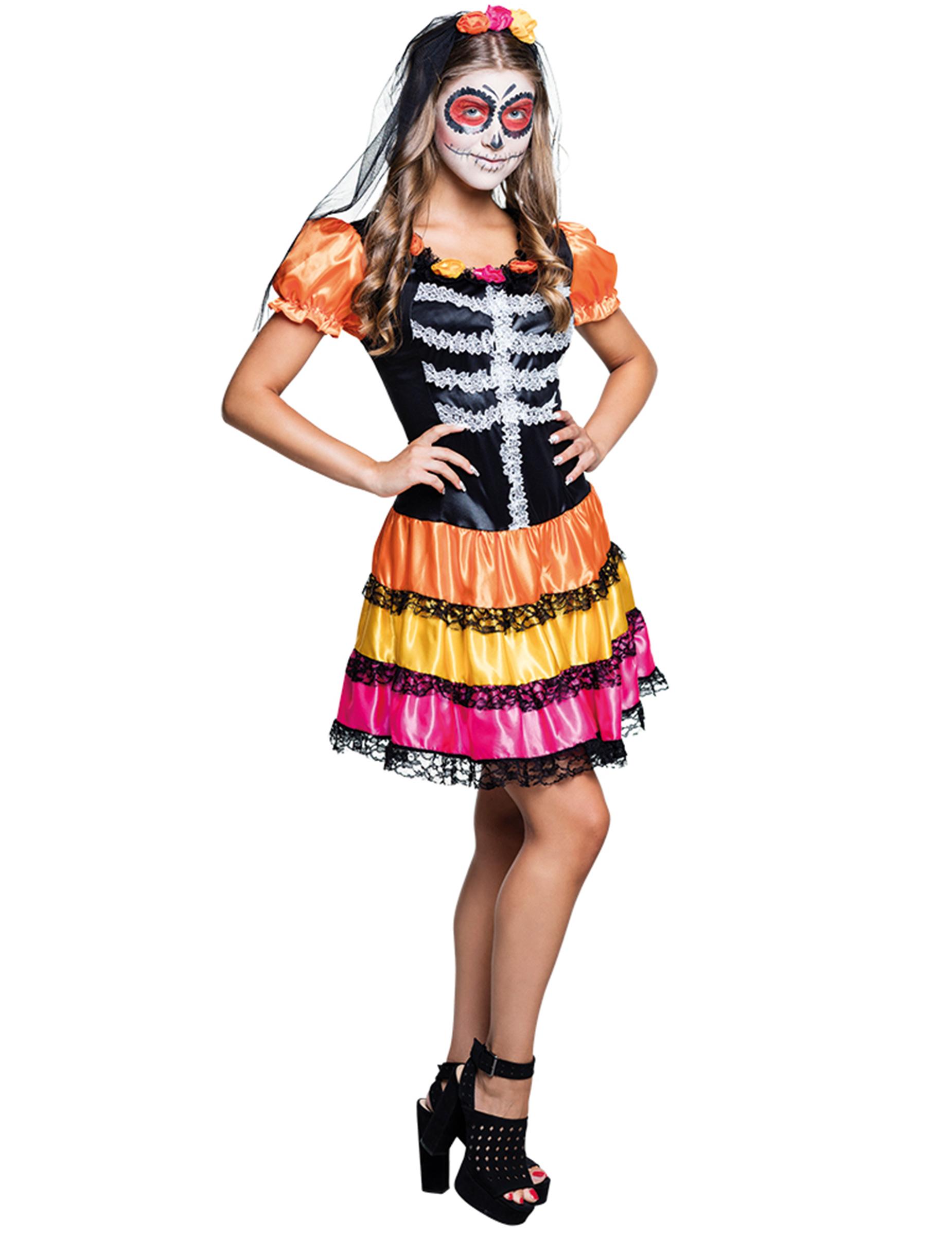Costume da scheletro colorato per adolescente Dia de los Mue