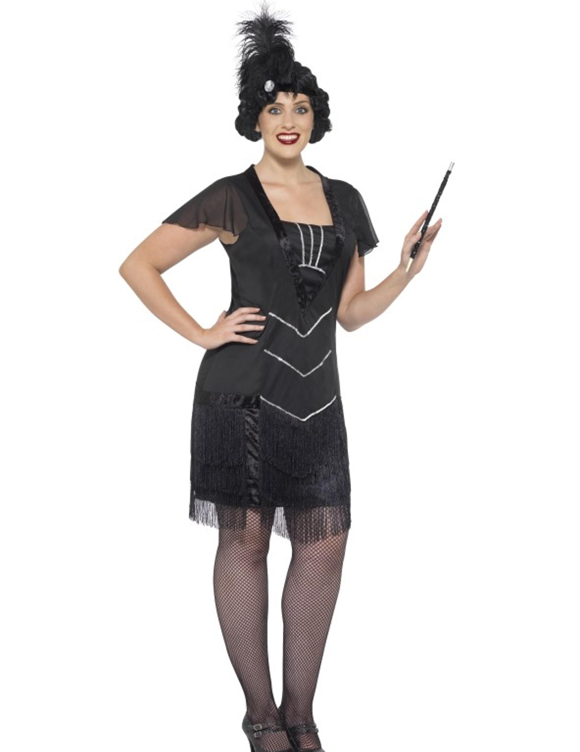 63147d6a2cac Costume charleston nero con frange per donna: Costumi adulti,e ...