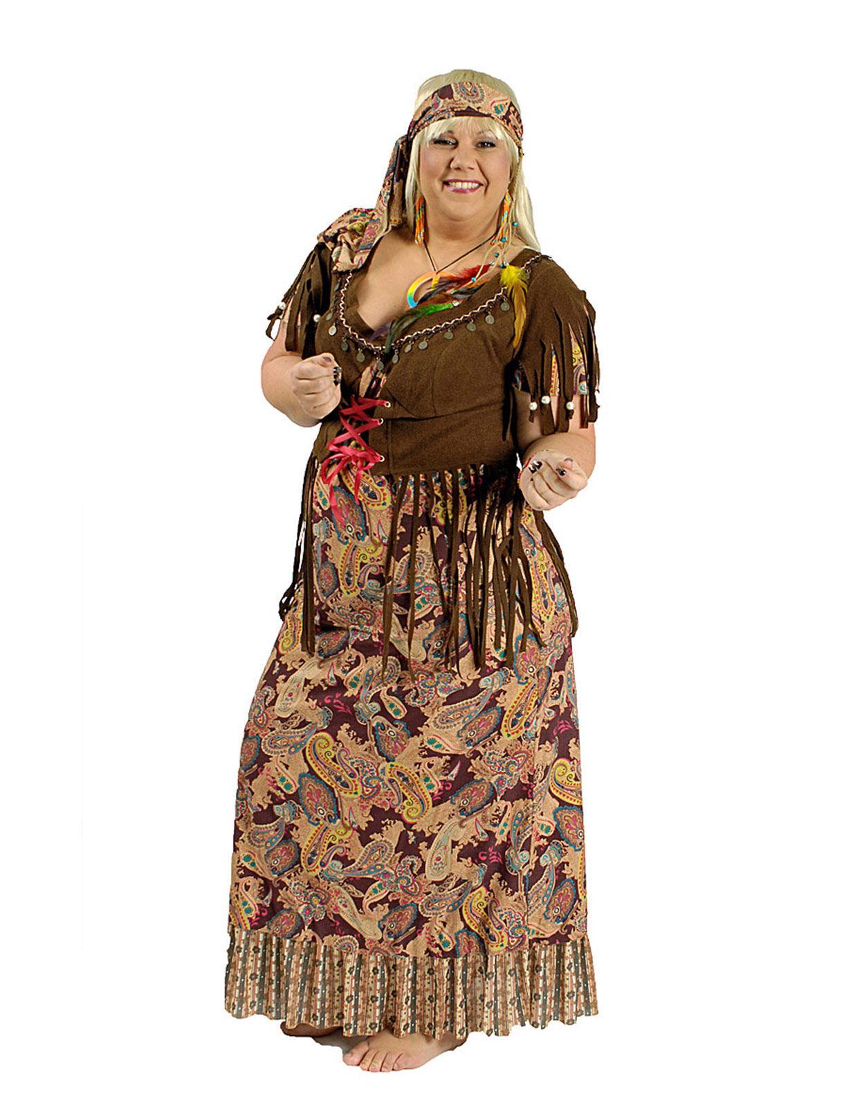 Costume hippie anni 60 taglia grande per donna: Costumi ...