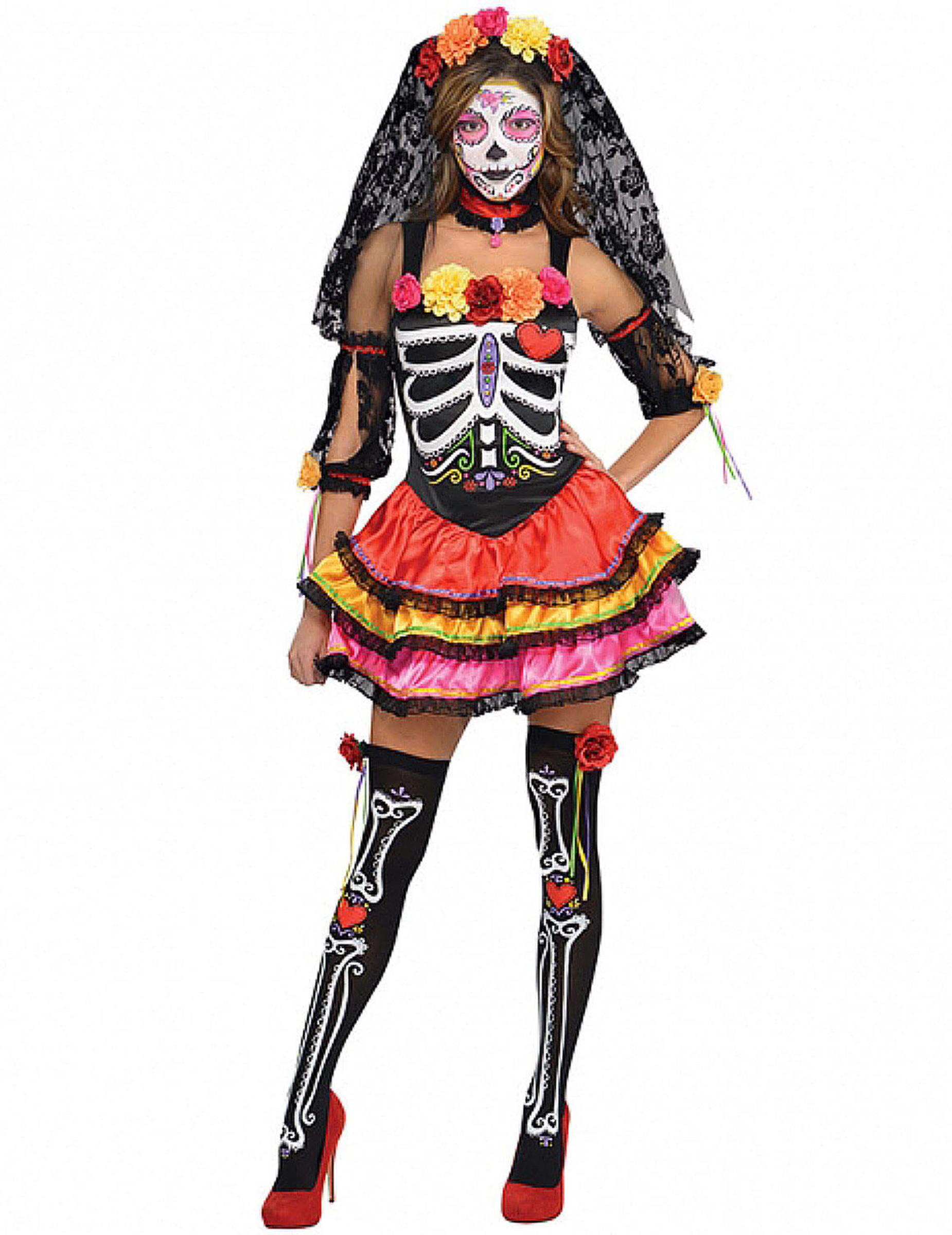 Costume scheletro colorato Dia de los Muertos donna  Costumi adulti ... 39242437e3a