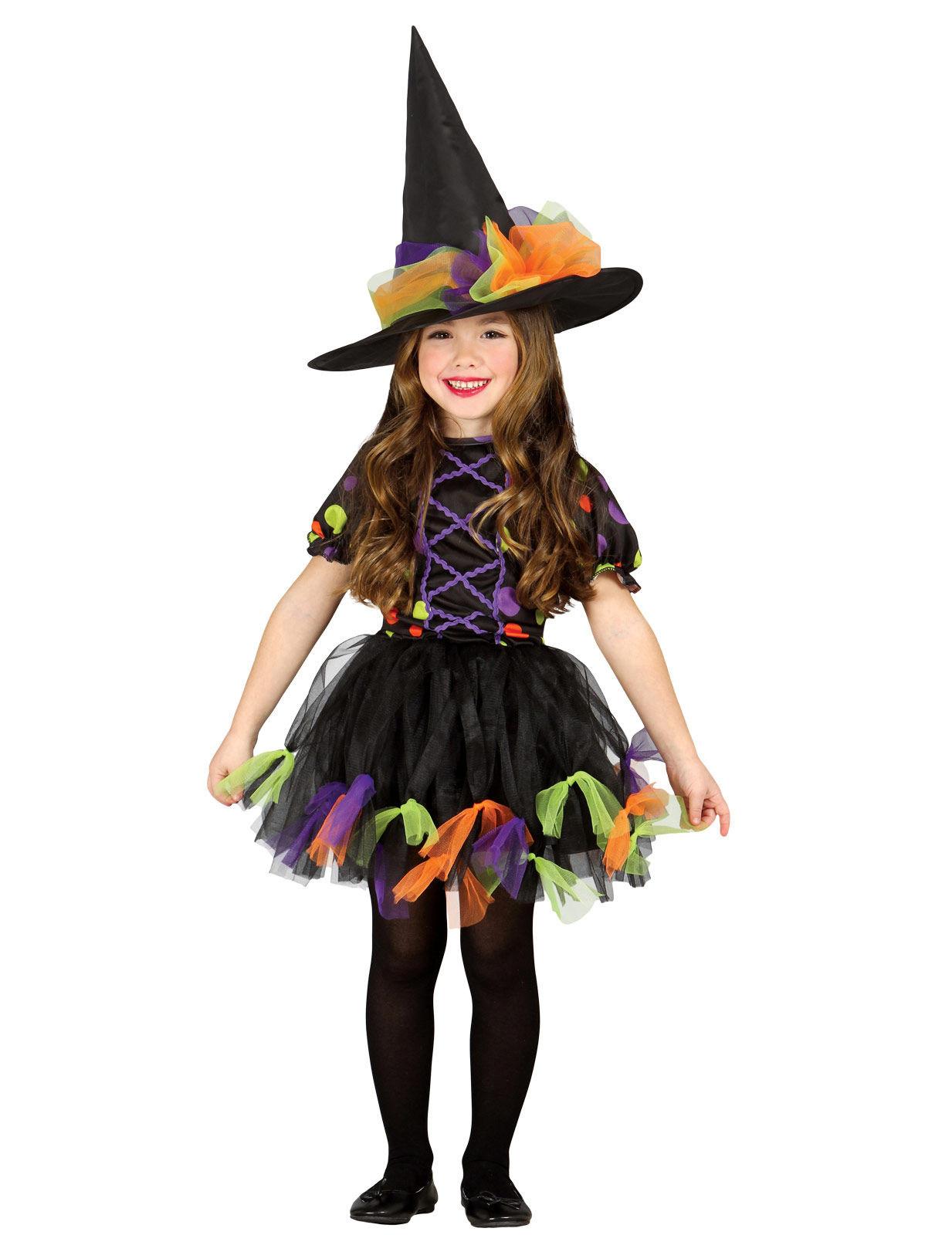 Costume da strega in tulle colorato per bambina  Costumi bambini a491457e4e46