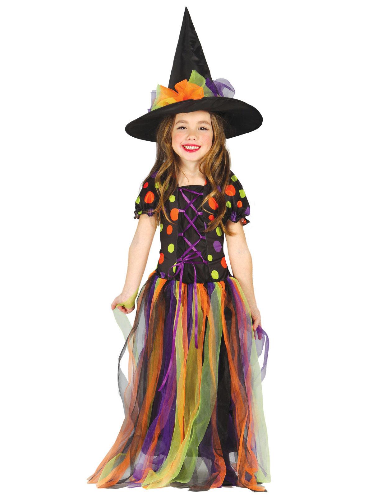 Costume da strega multicolore per bambina Halloween ...