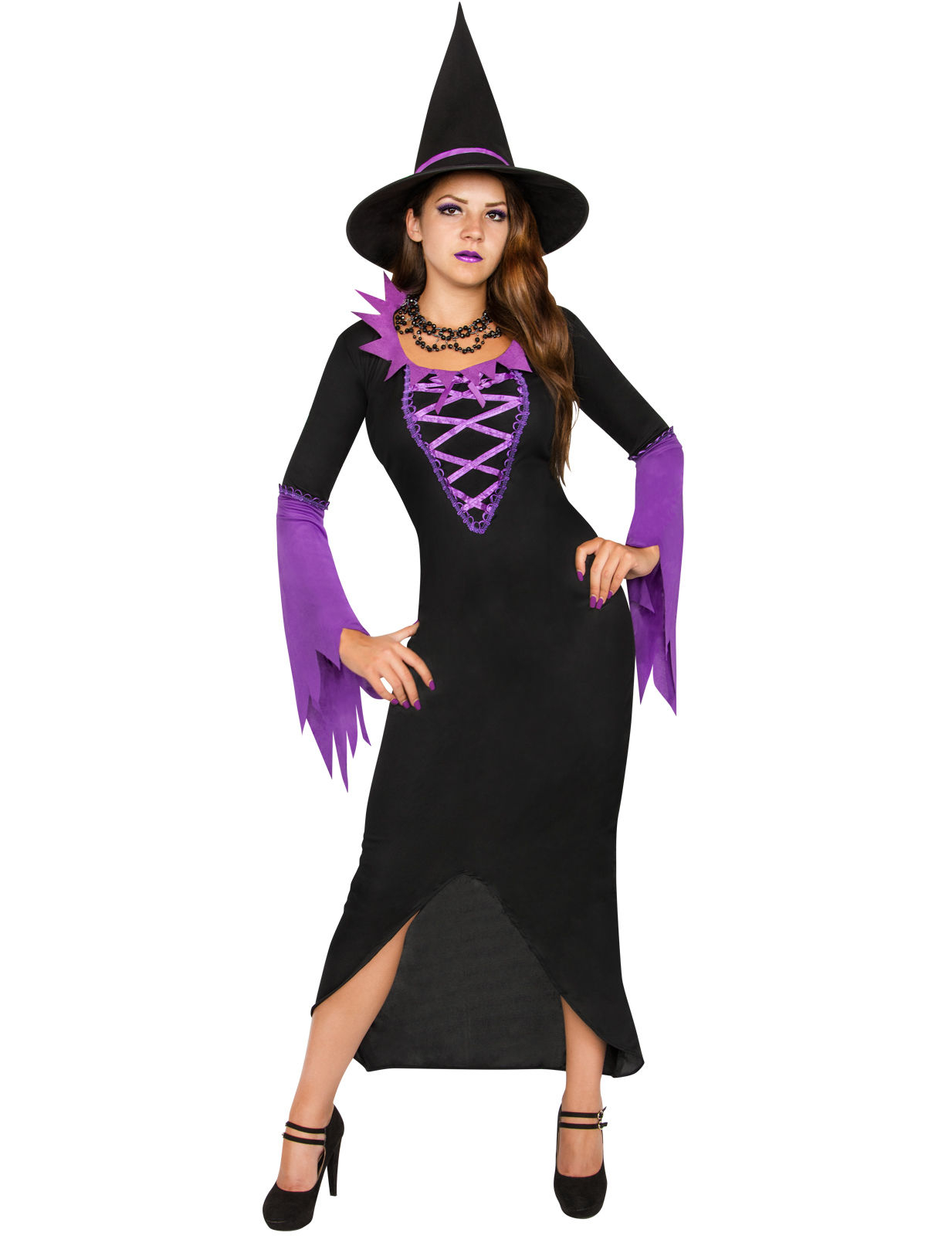 Costume da strega nera e viola per halloween  Costumi adulti 5e19aee43a86