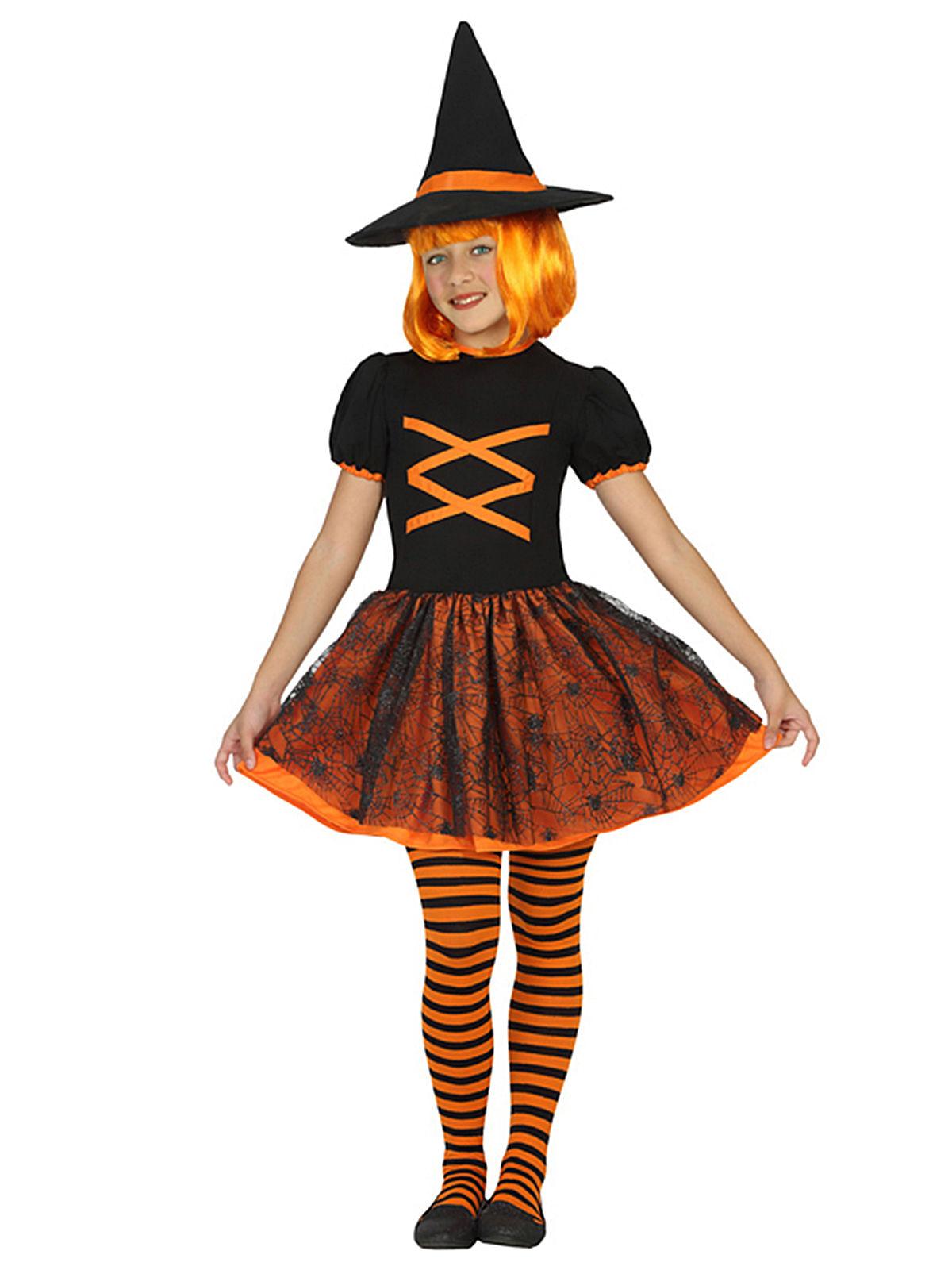 Costume da strega arancione e nero per bambina halloween  Costumi ... ab6f31d12da9
