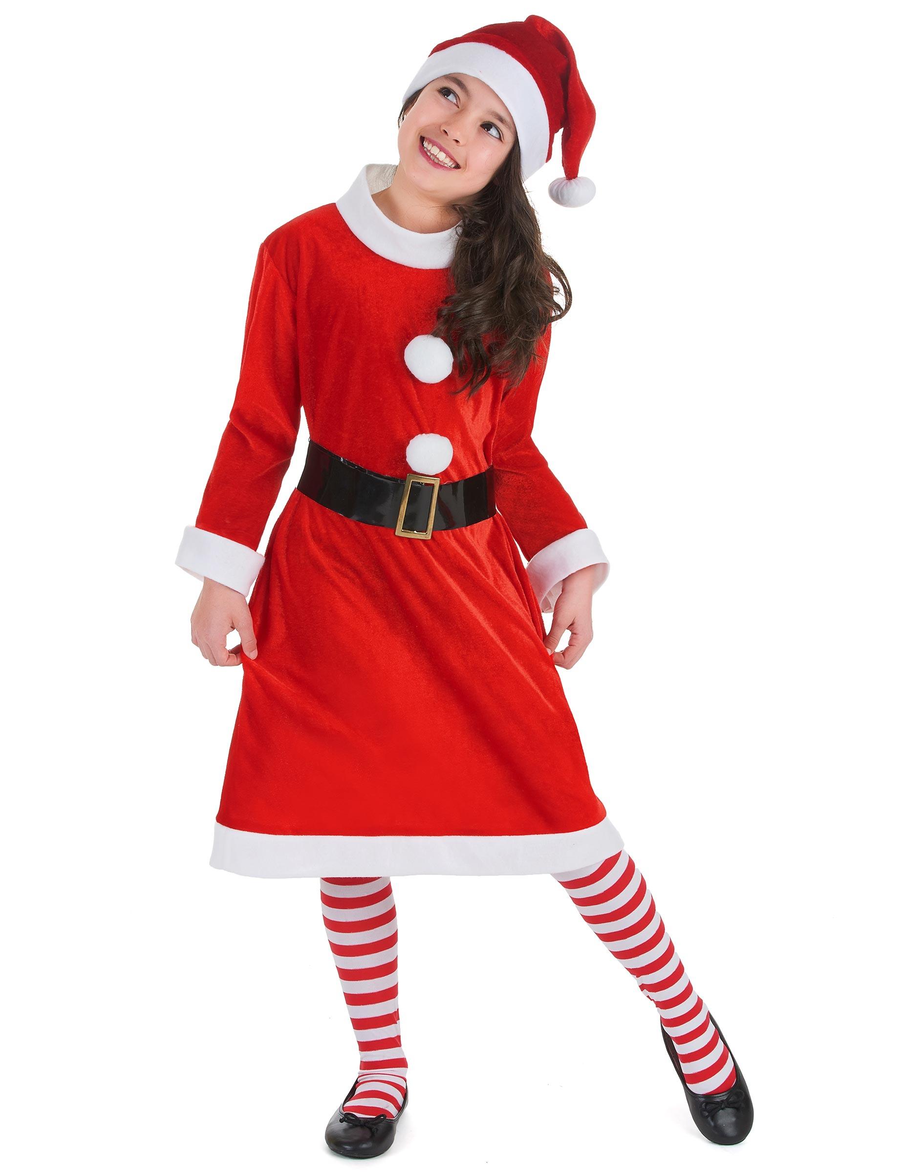 Costume Mamma Natale con pompom per bambina  Costumi bambini 9f3662913f0
