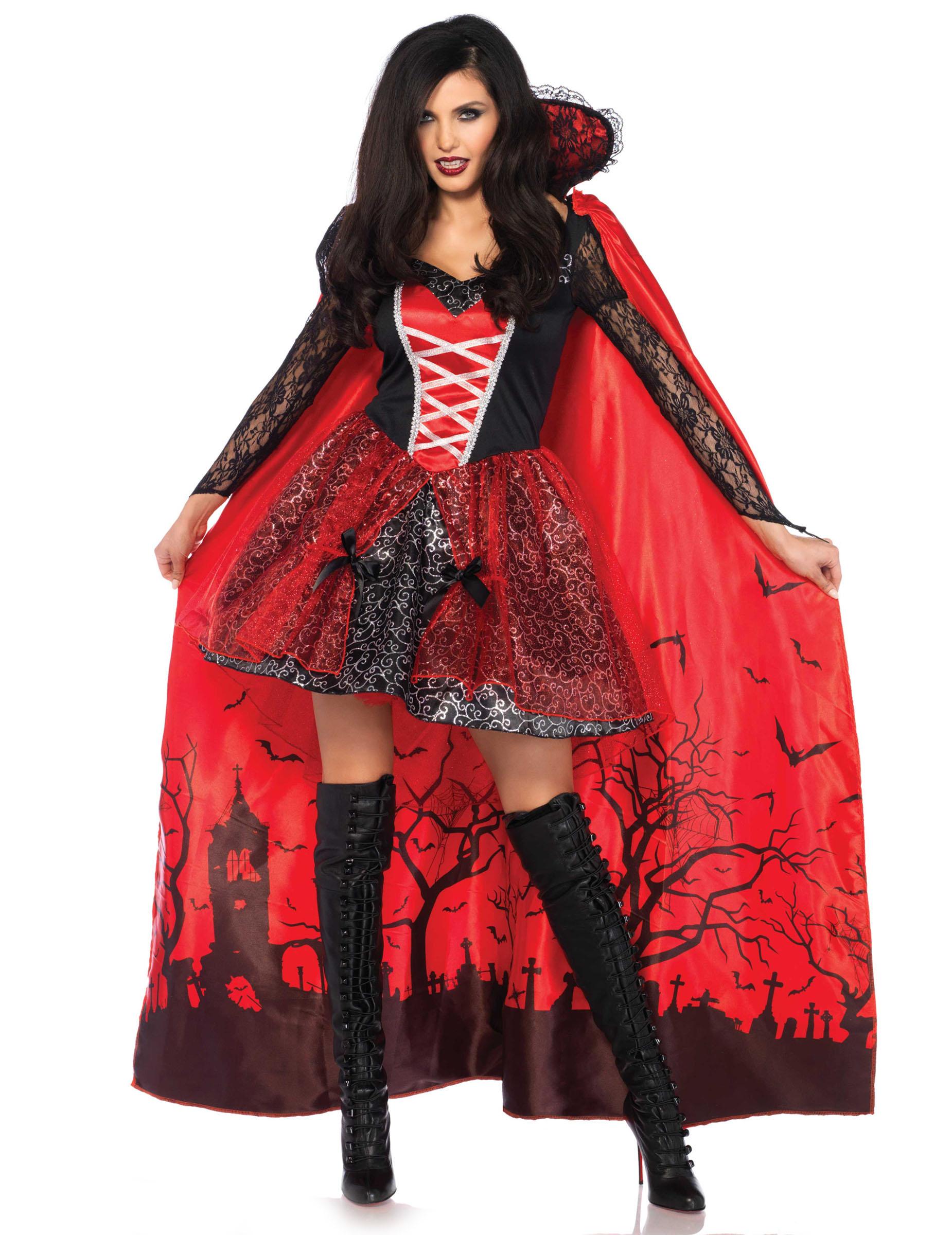 Adulto Halloween Dracula Vampiro Supereroe Lunga Cape Costume Festa