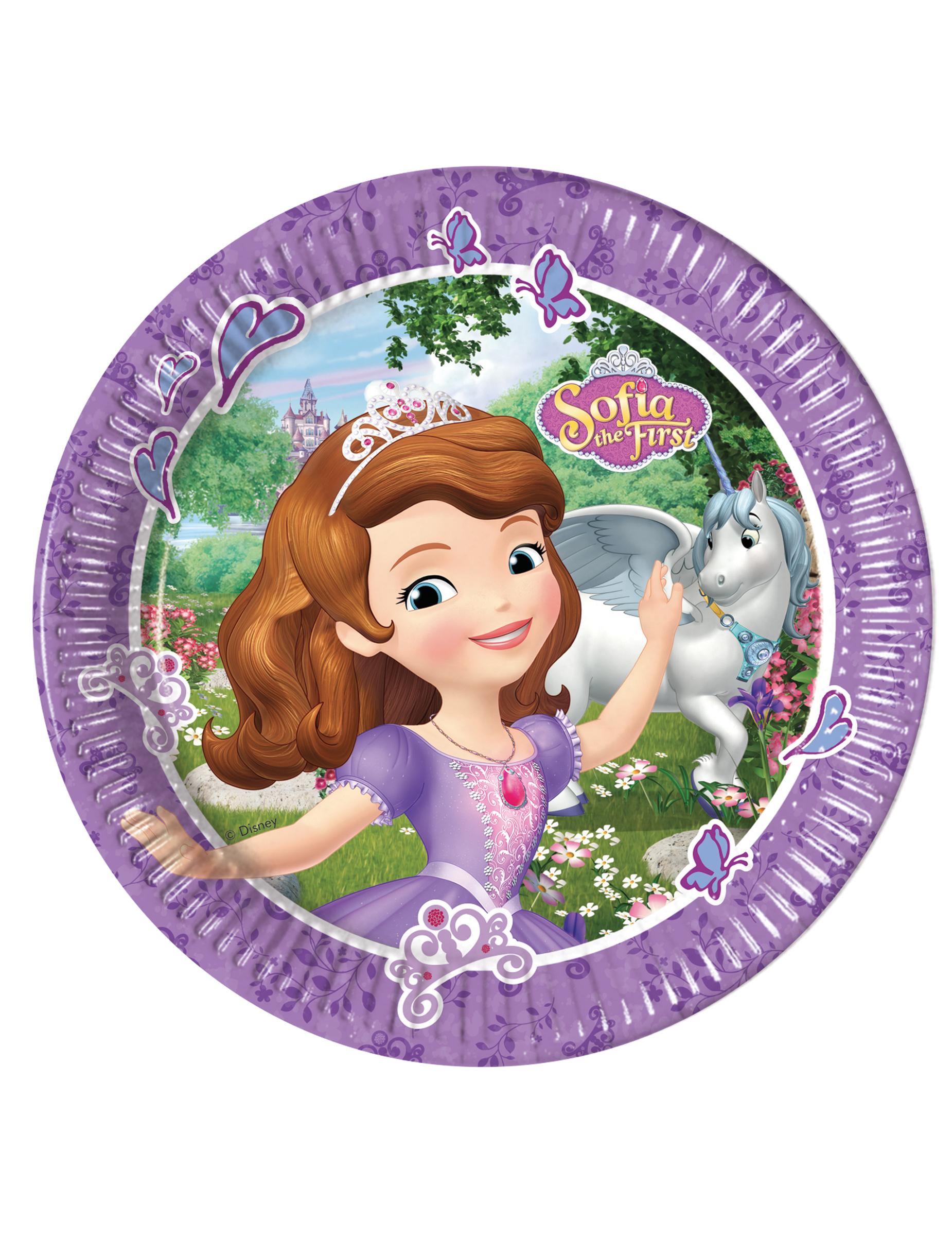 Piatti in cartone sofia la principessa e l unicorno