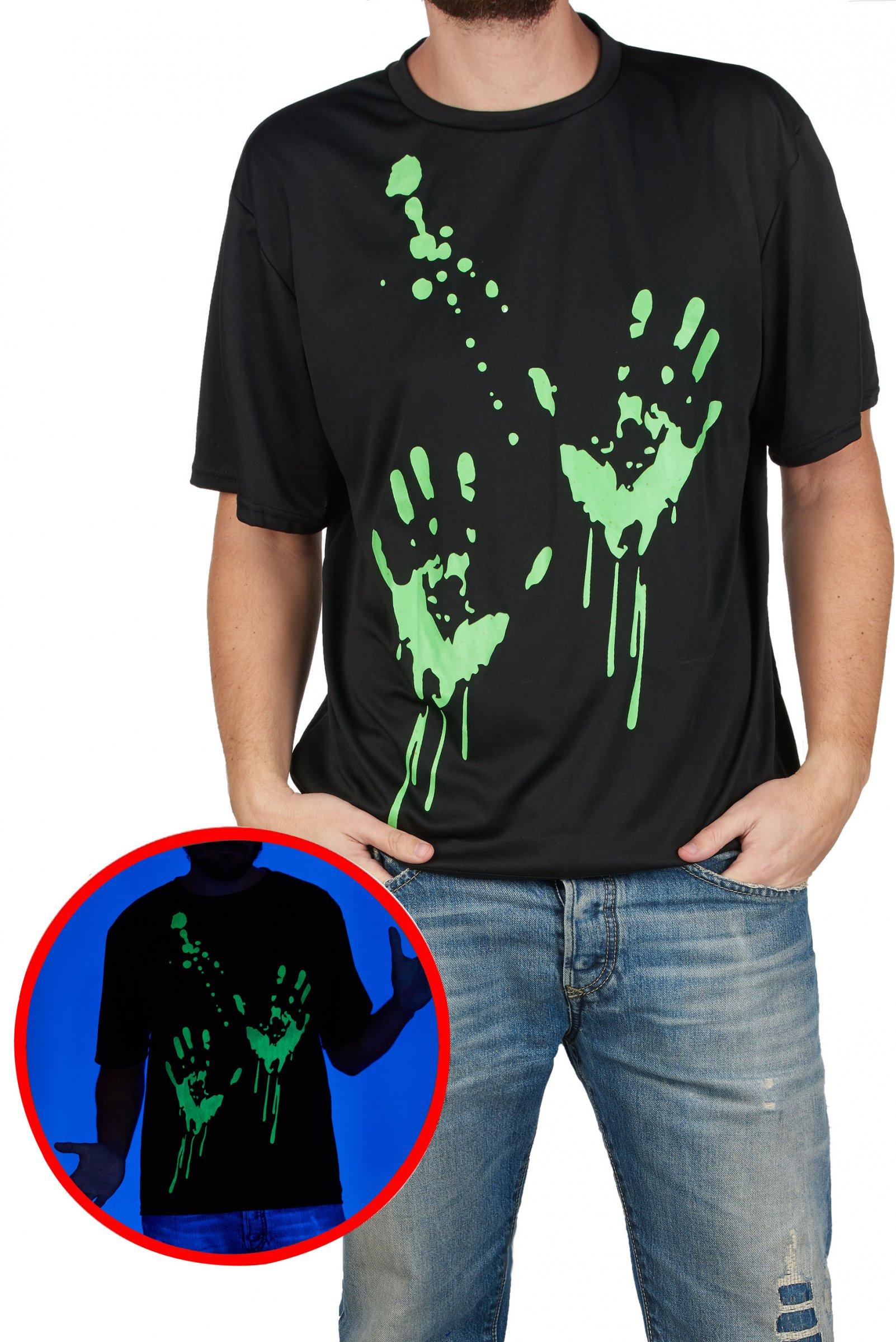 Maglietta con impronte di mani fosforescenti adulto - Costumi da bagno con maglietta ...