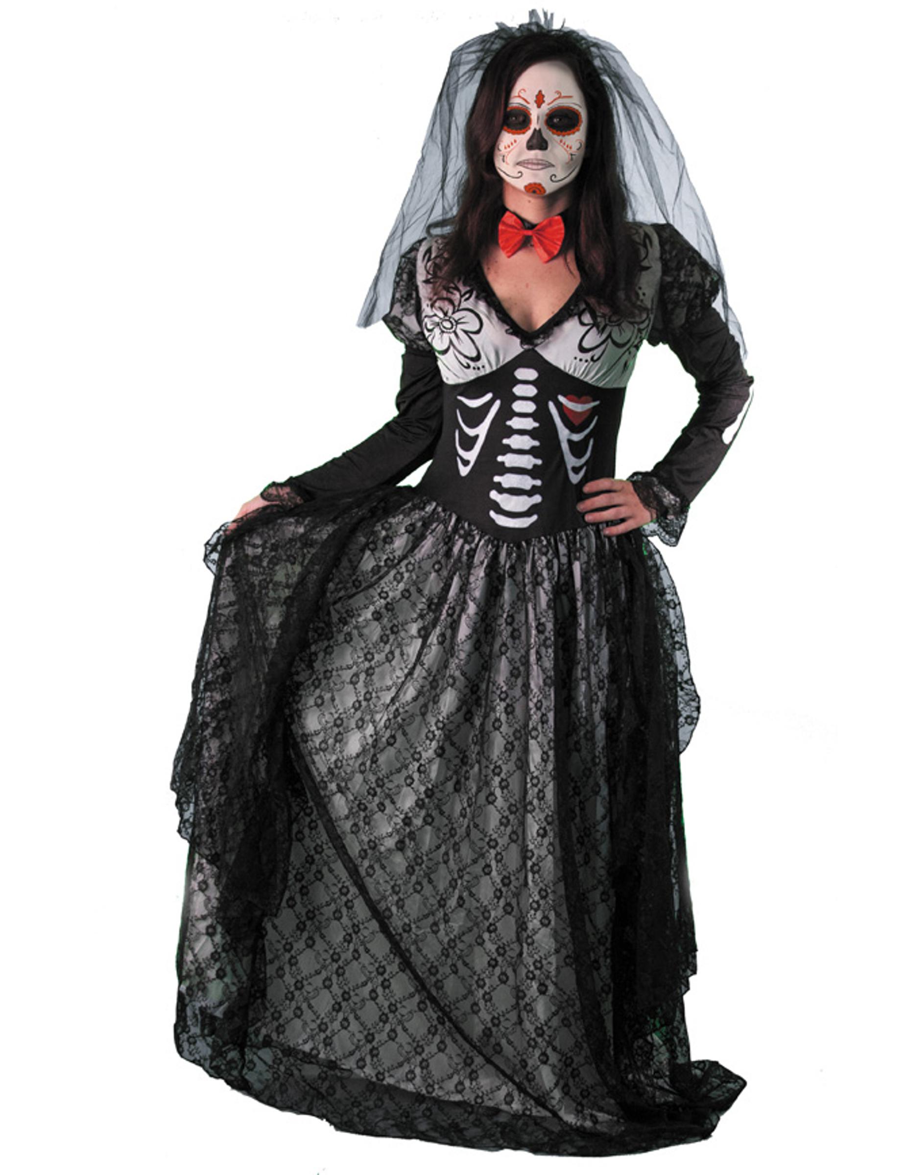 Costume contessa scheletro donna dia de los muertos  Costumi adulti ... 4b4ac50ddd2