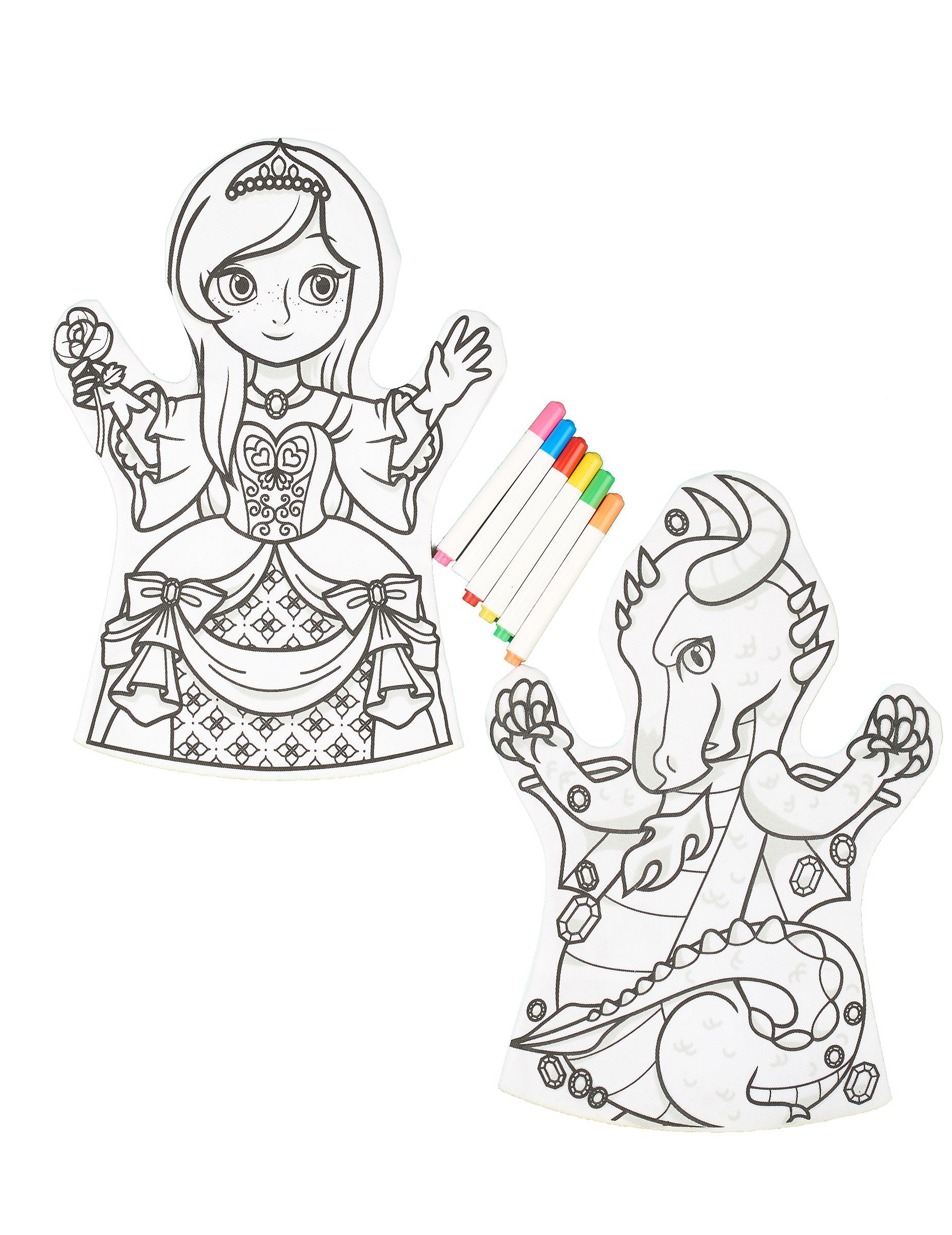 2 Marionette Da Colorare Lavabili E 6 Pennarelli Addobbie Vestiti