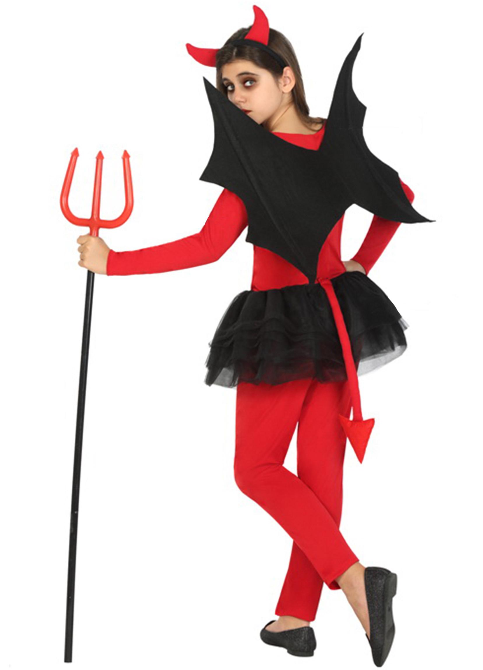Costume diavolo rosso e nero ragazza Halloween  Costumi bambini 22c79b650426