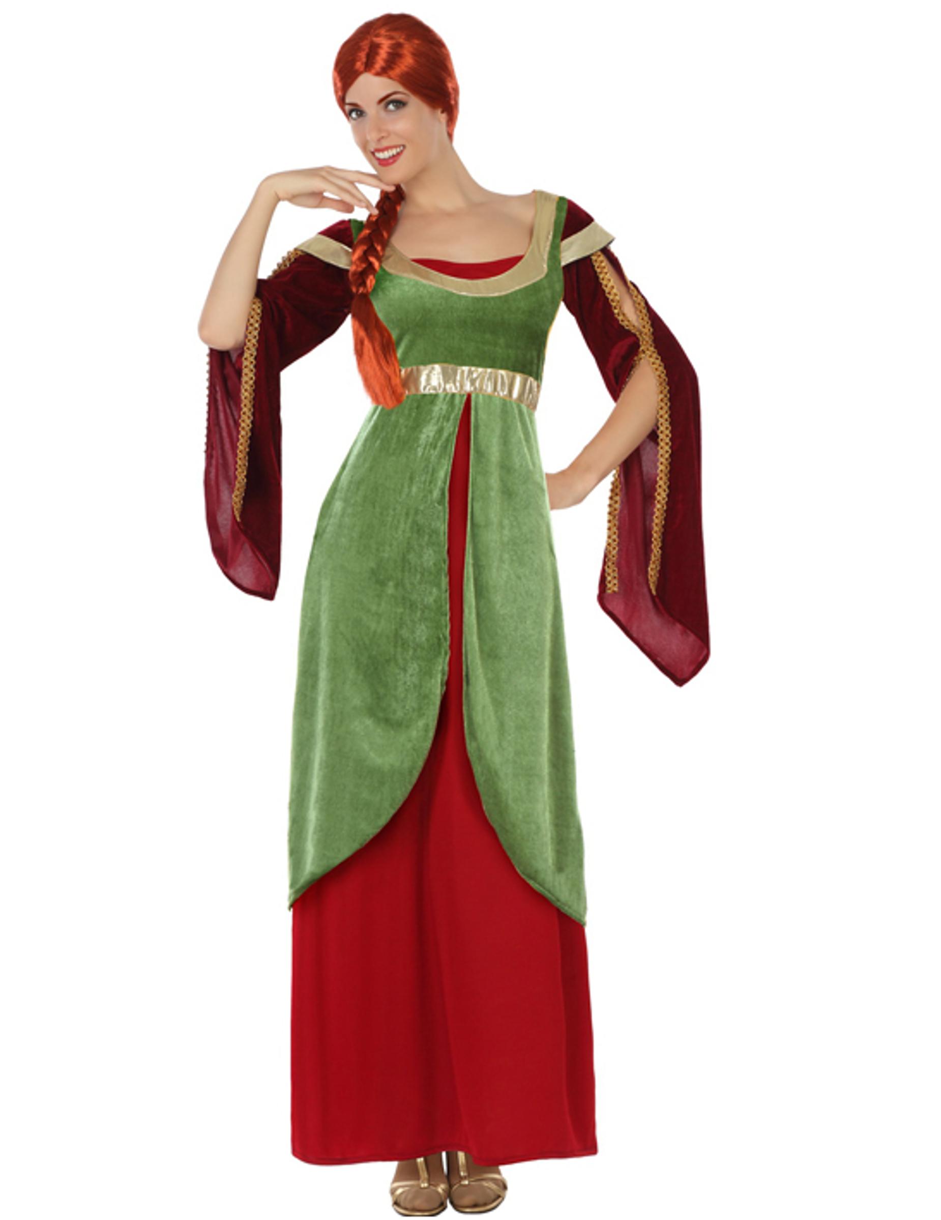 655fe37a6f05c Costume dama medievale rosso e verde Donna  Costumi adulti