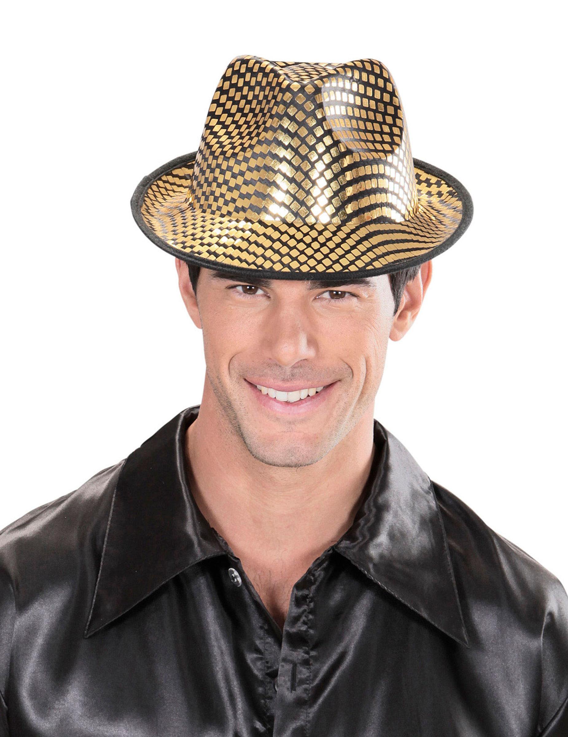 Cappello borsalino dorato e nero per adulto  Cappelli 0aba2e1d1123