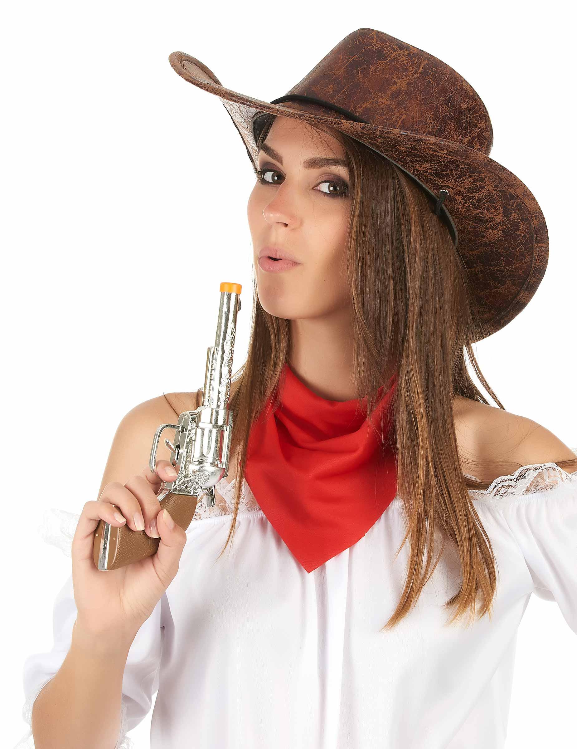 CW-05 Set di 5 Cappelli da Cowboy Cowgirl Taglia Unica per Adulti e Ragazzi Marrone Scuro Stile Camoscio per Festa Serata a Tema Western Carnevale Uomo Donna