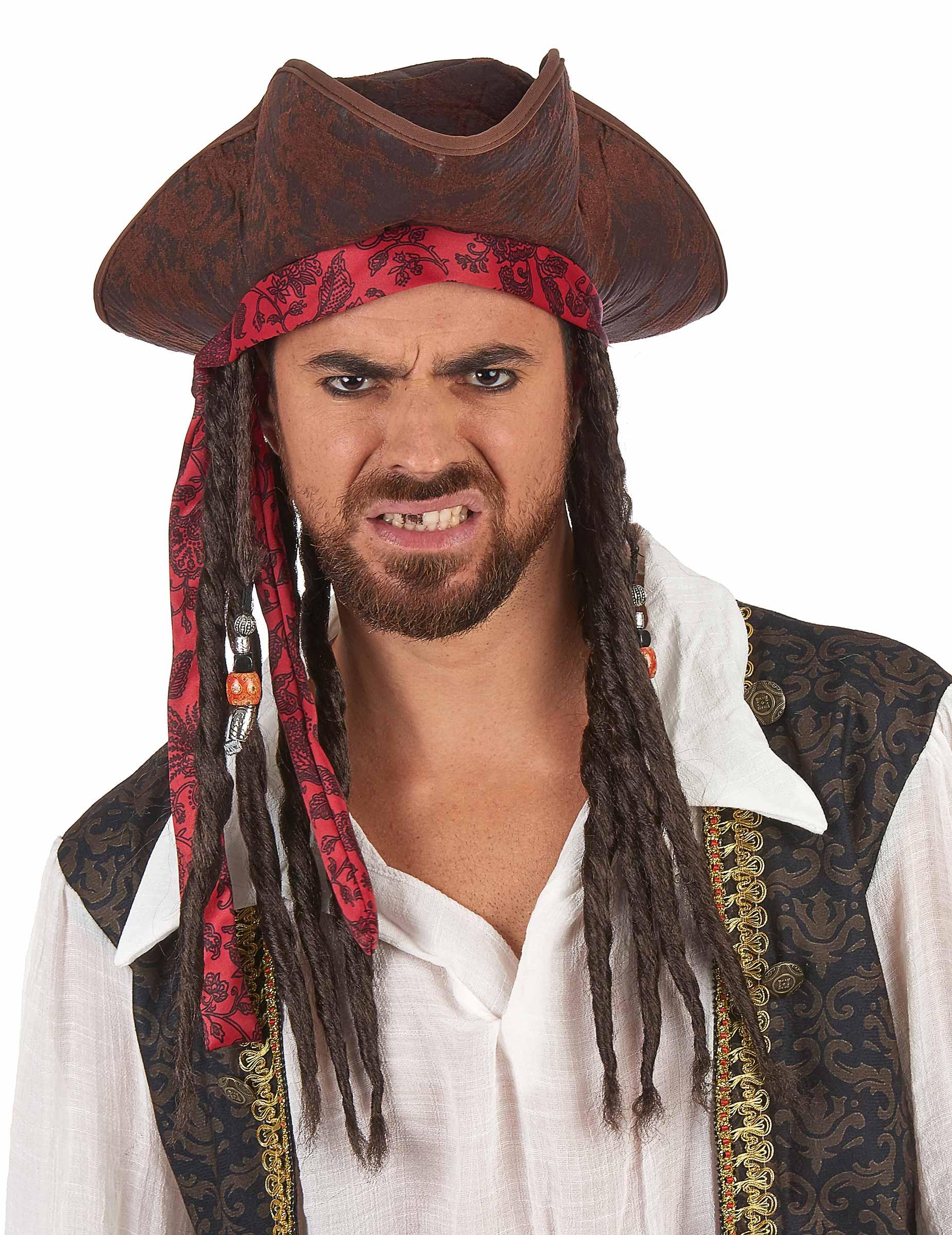 Cappello da pirata marrone con capelli per adulto ...